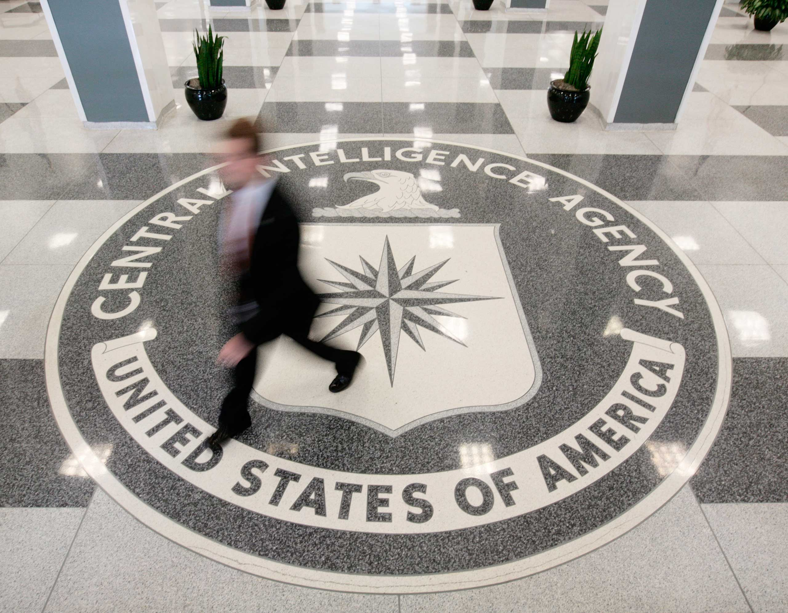 The lobby of the CIA Headquarters Building in McLean, Va.