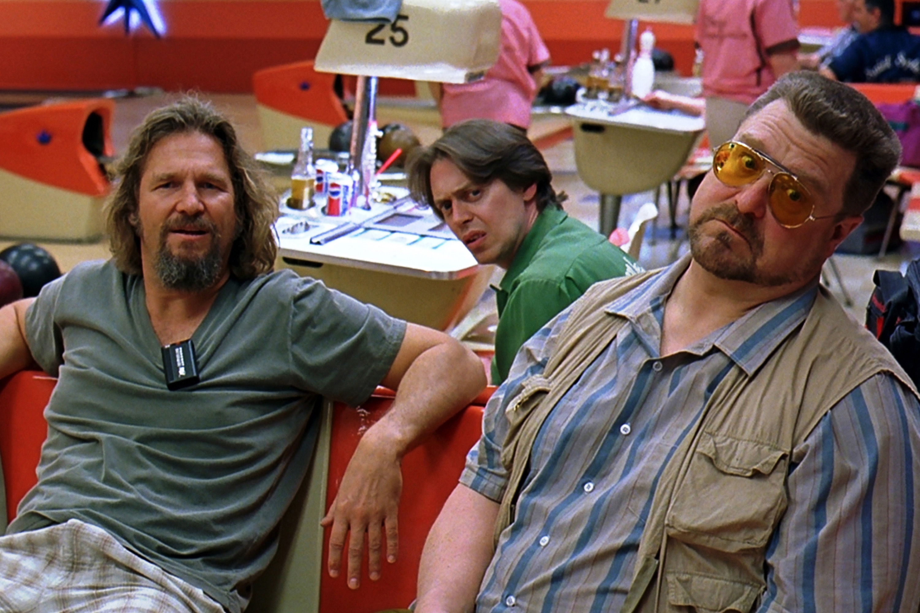 "This handout photo provided by Universal Studios and the Library of Congress shows  Jeff Bridges as ""The Dude,"" left, hanging out at the bowling alley with his buddies Walter (John Goodman) and Donny (Steve Buscemi) in  The Big Lebowski."