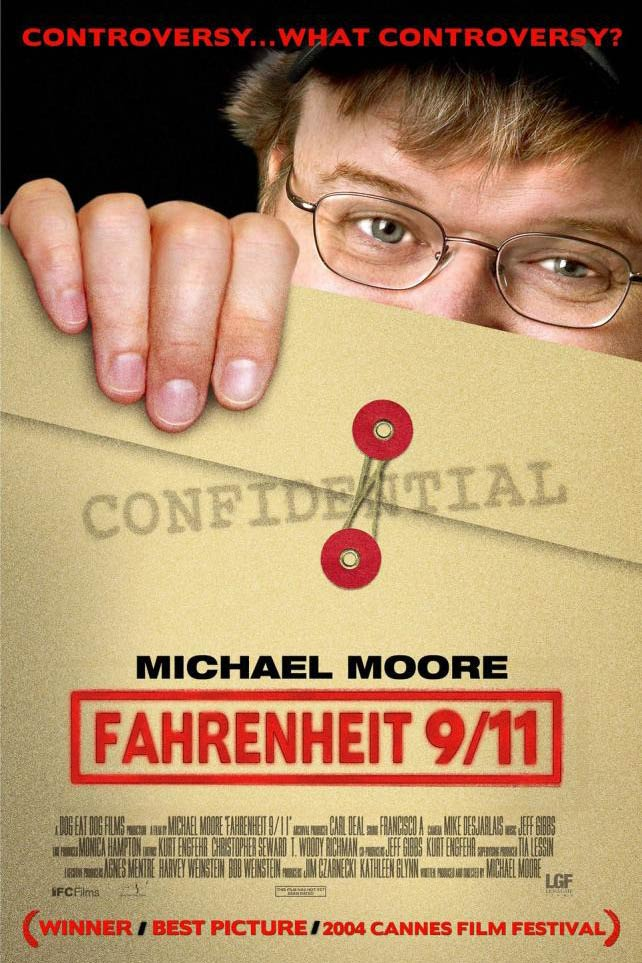 <strong><i>Fahrenheit 9/11</i>, 2004</strong> The 2004 presidential election was ugly to an unprecedented degree, with attacks on John Kerry's service from the right's Swift Boat Veterans for truth and this documentary-length Molotov cocktail tossed at George W. Bush from director Michael Moore. Moore, who'd previously been booed at the 2003 Oscars for an anti-Bush speech, mixed together insinuations about voter fraud in Florida and ties between the Bush and bin Laden families into an antiwar statement. In its sheer provocation and palpable anger, it was the perfect film for its polarized time; the fact that it was received very differently by audiences of different political persuasions seemed somehow apt.