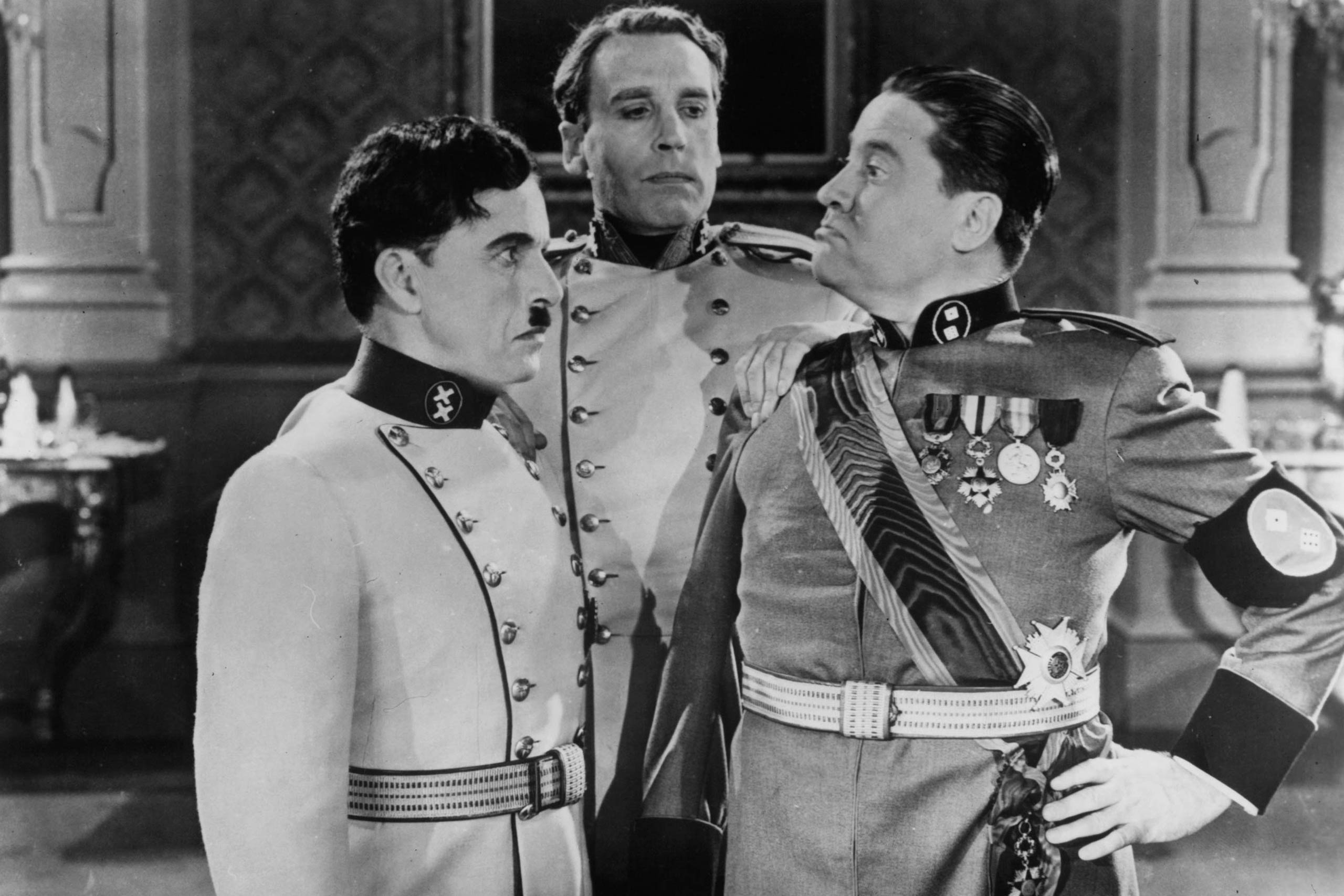 <strong><i>The Great Dictator</i>, 1940</strong> Charlie Chaplin's lampooning of Hitler came before the U.S. was necessarily ready to hear it -- the country hadn't yet entered World War II yet. <i>The Great Dictator</i> was controversial both for its advancement of anti-Hitler rhetoric and, at the same time, its turning Hitler into a figure of comedy.