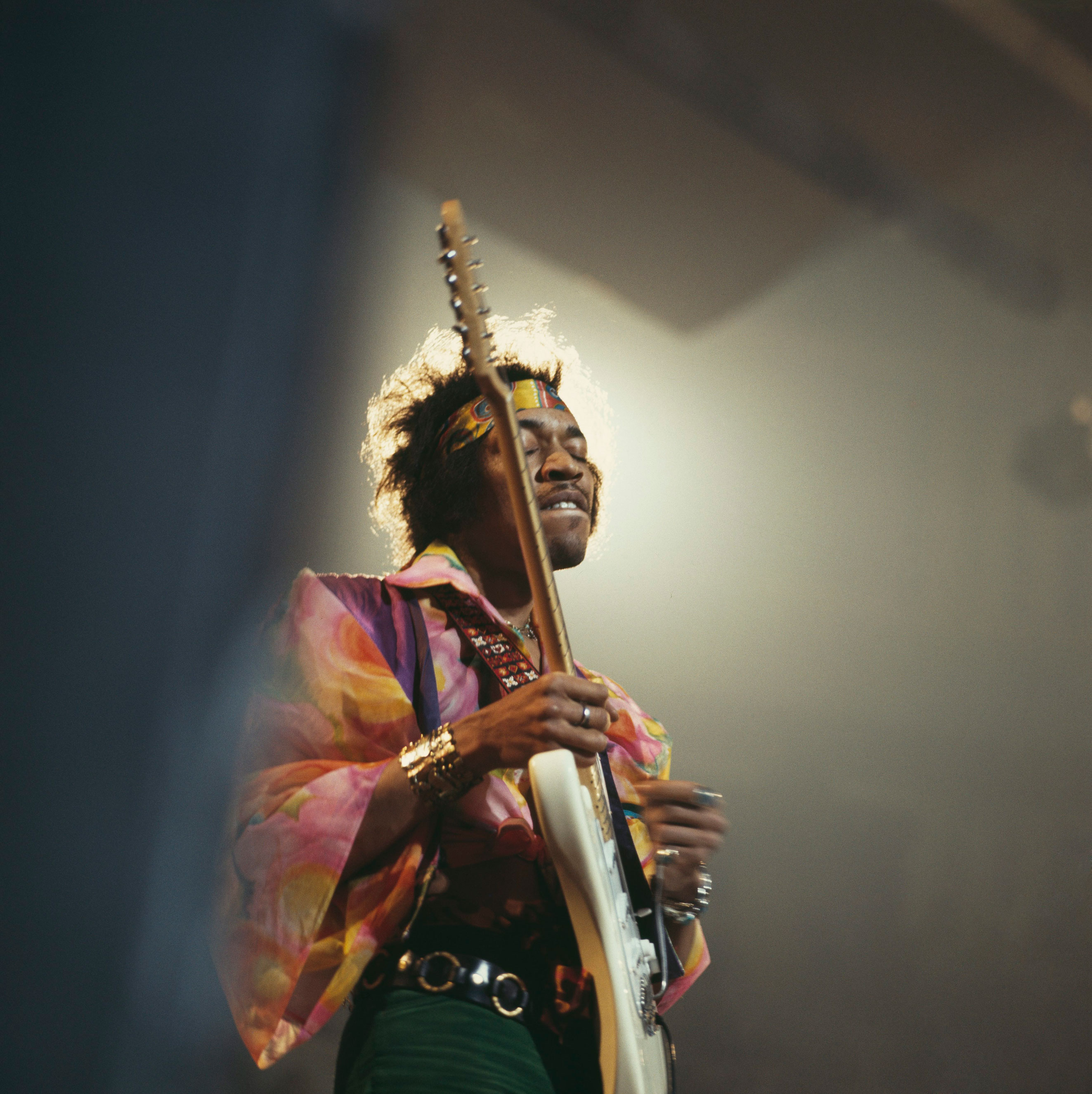 Jimi Hendrix performs on stage at the Royal Albert Hall on Feb. 24th, 1969 in London.