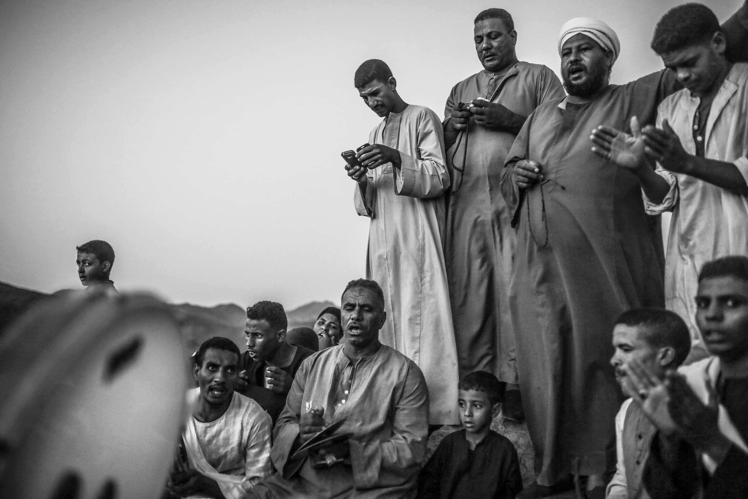Worshippers sing hymns and recite chants during the week-long celebrations of Abul-Hassan Al-Shazly festival, Humaithara, Red Sea Governorate, Egypt. Sept. 30, 2014.