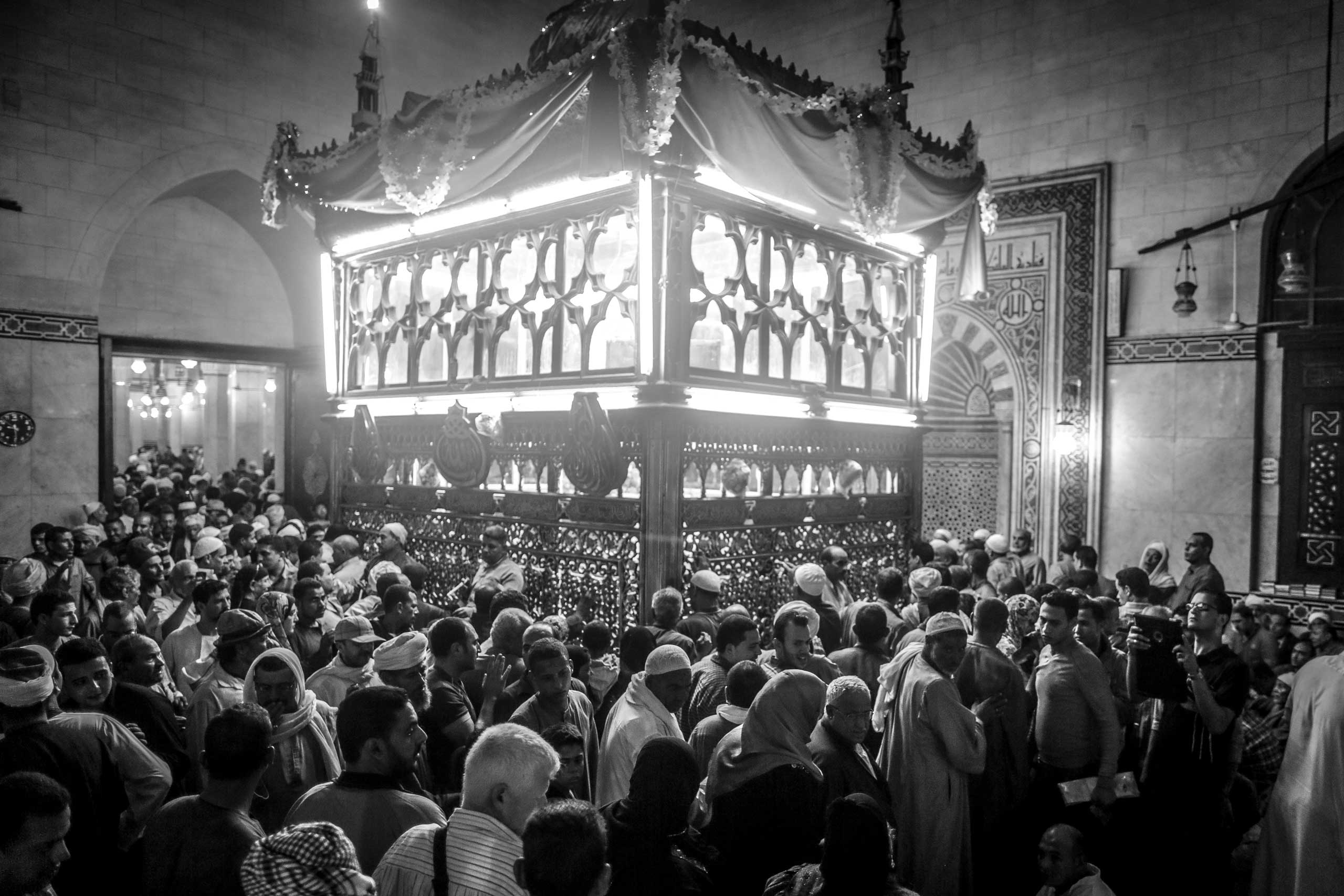 Worshippers circle the shrine of El-Sayed El-Badawi; this mawlid is considered Egypt's most famous. Tanta, Egypt. Oct. 16, 2014.