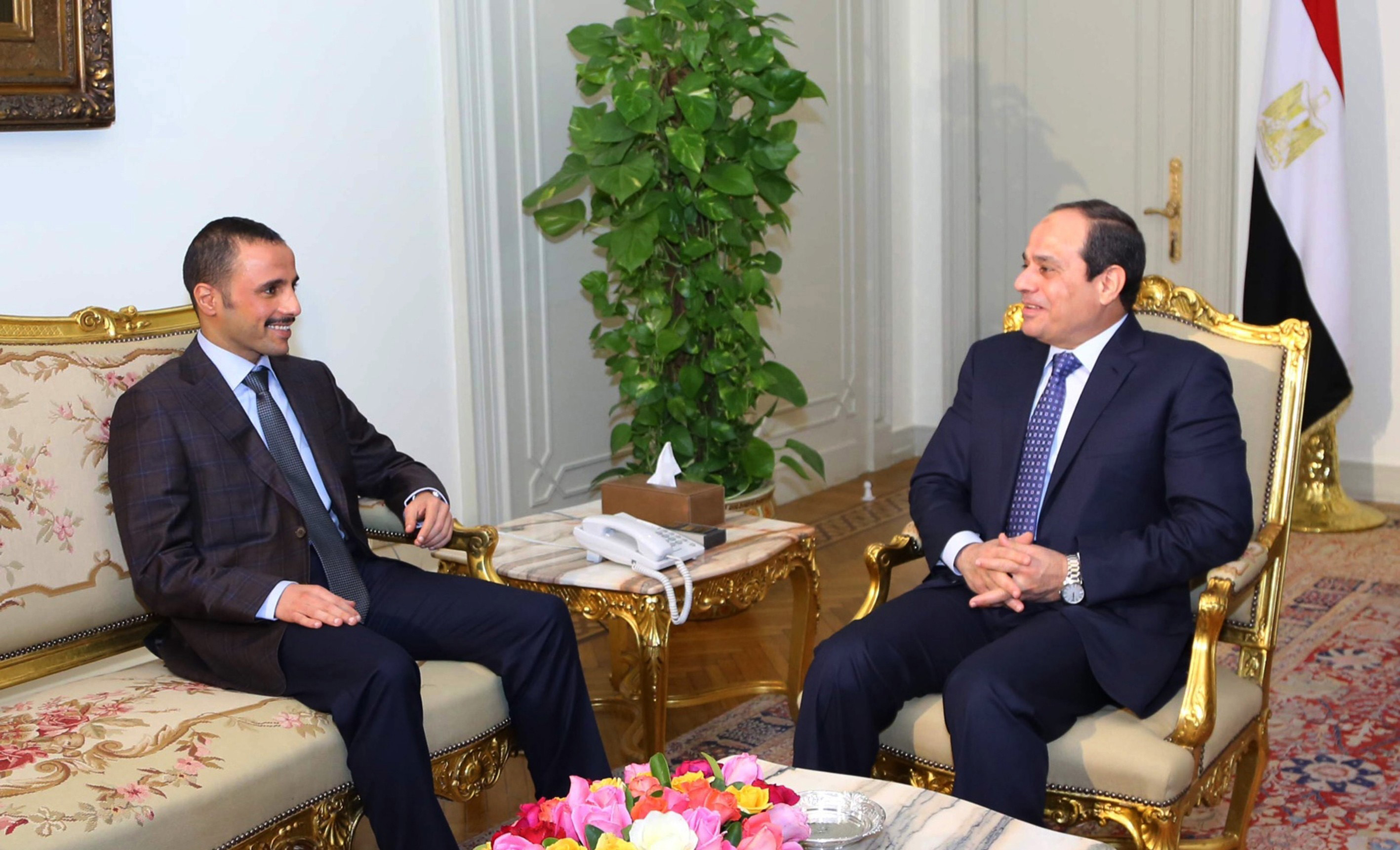 From left: Kuwait's parliamentary speaker Merzuk Ali el-Ganim meets with Egypt's President Abdel Fattah el Sisi in Cairo, Egypt on Dec. 27, 2014.