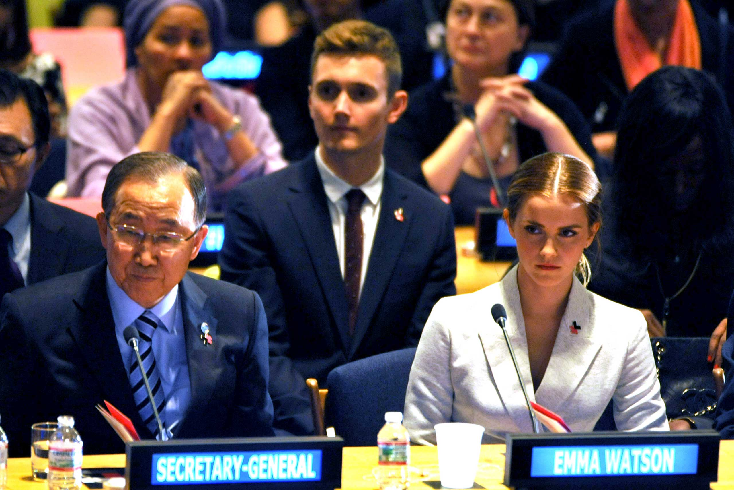 Emma Watson and Ban Ki-Moon attend the launch of the HeForShe Campaign at the United Nations in September of 2014 in New York.
