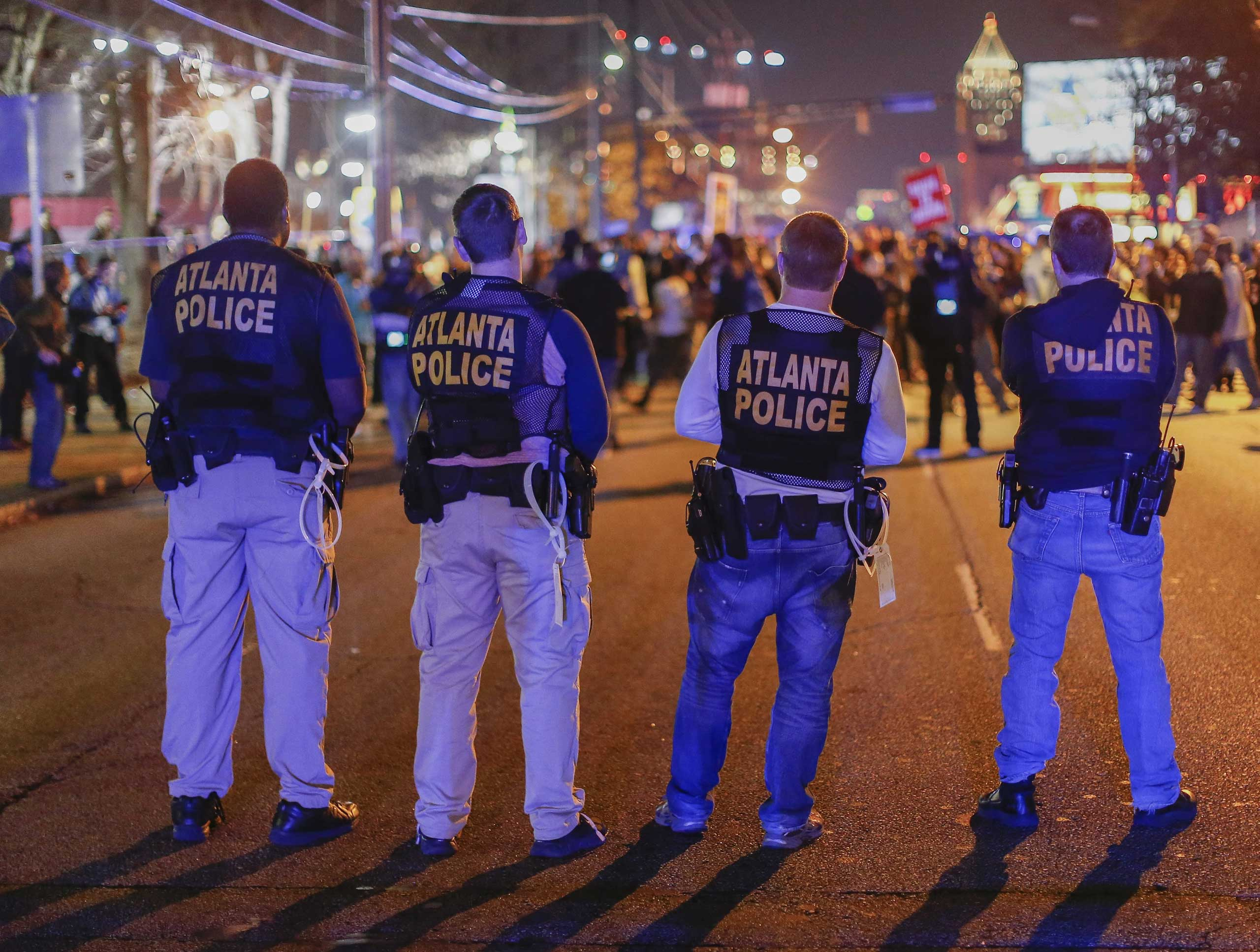 Atlanta Police face off with protesters blocking Spring Street in Atlanta on Dec. 3, 2014.