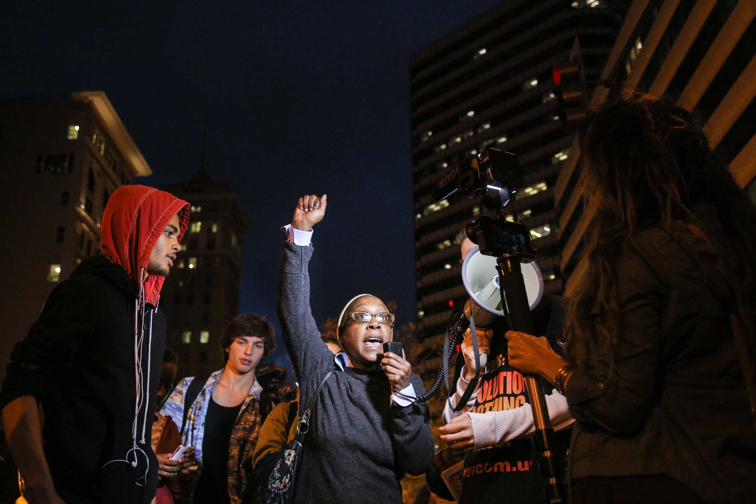 Regina Bates speaks during a demonstration in Oakland, Calif. on Dec. 3, 2014.