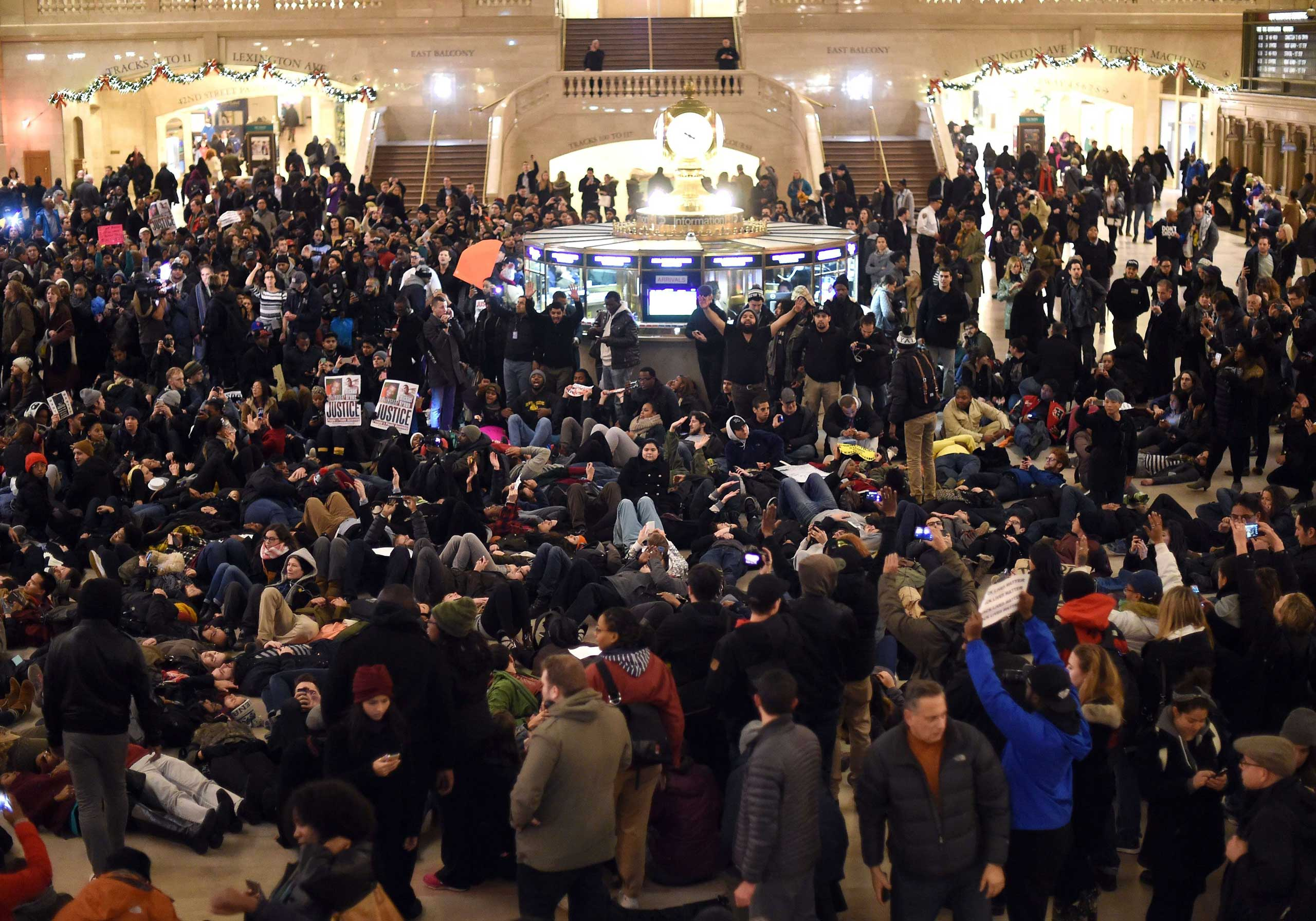 Protestors lay down in Grand Central Station during a protest in New York City on Dec. 3, 2014.