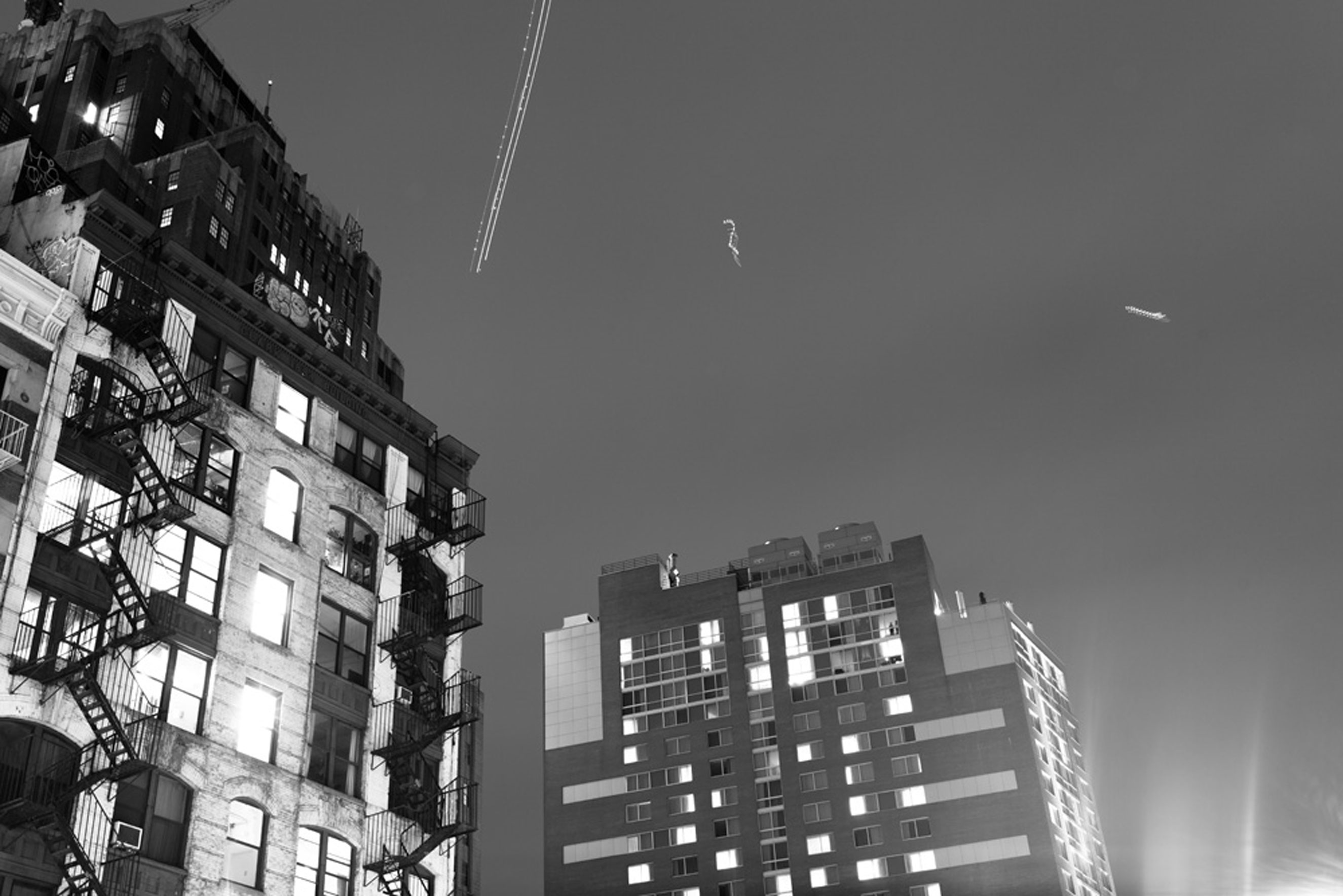 NYPD helicopters in the sky above downtown Manhattan  on Dec. 4, 2014.