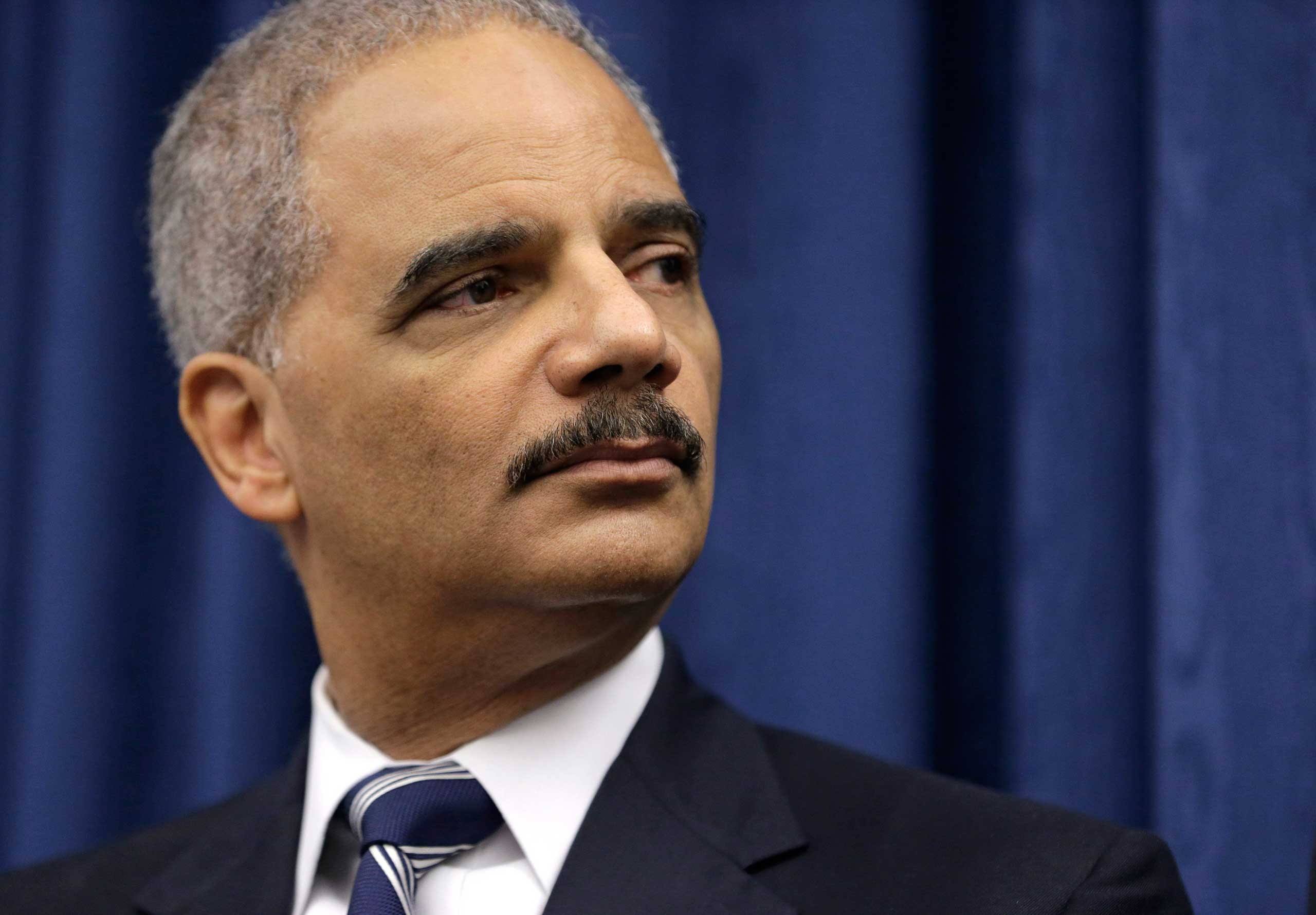 U. S. Attorney General Eric Holder speaks during a news conference before a roundtable meeting in Cleveland, Ohio on Dec. 4, 2014.