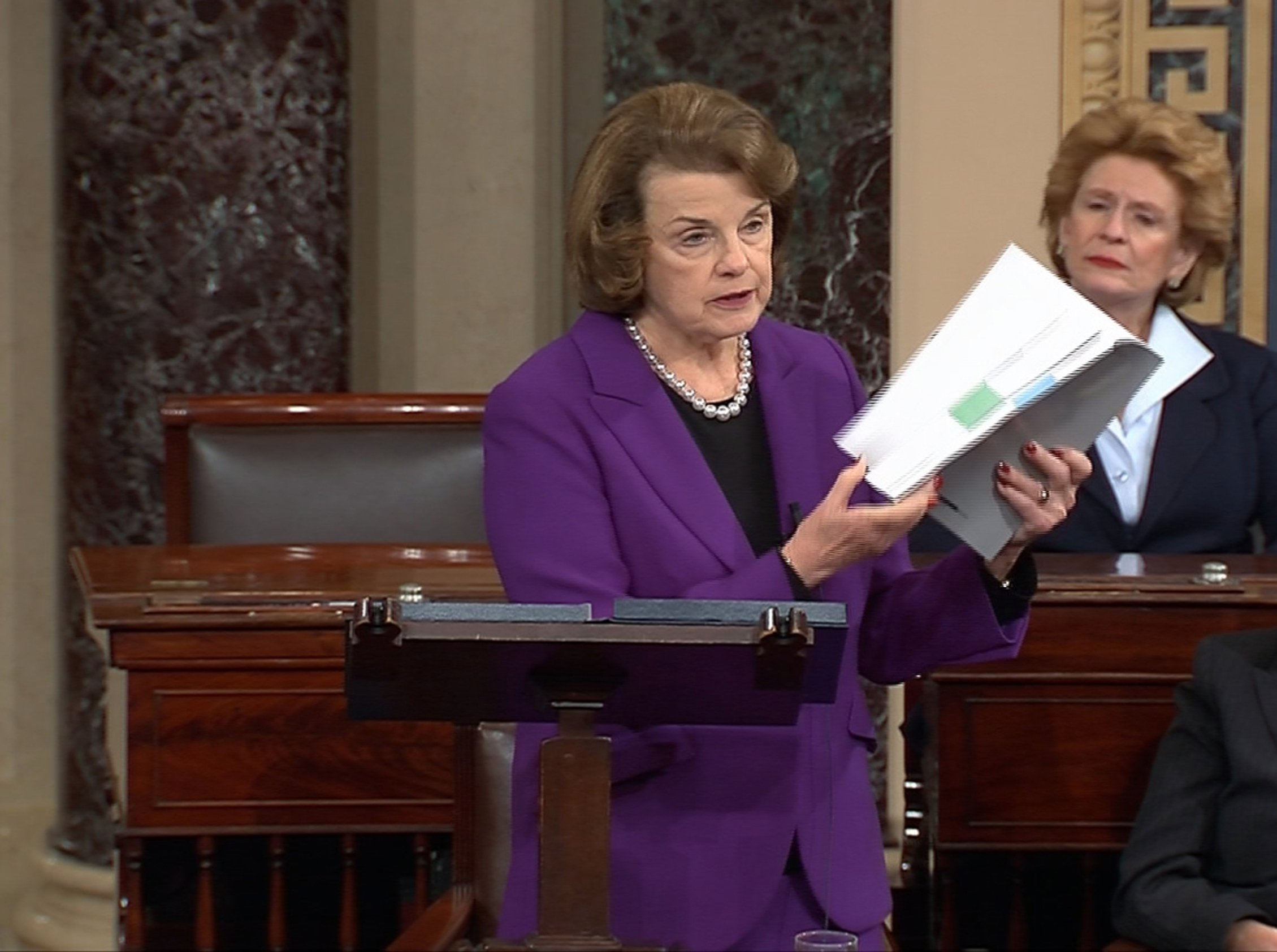 Senate Intelligence Committee Chairwoman Dianne Feinstein discusses a newly released Intelligence Committee report on the CIA's anti-terrorism tactics, in a speech on the floor of the U.S. Senate on Capitol Hill in Washington on Dec. 9, 2014.