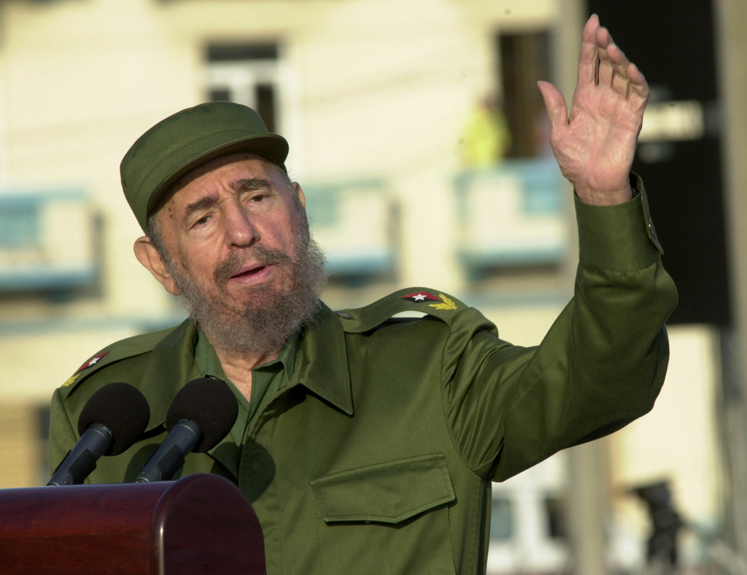 Fidel Castro delivering a speech in Havana on May 14, 2004