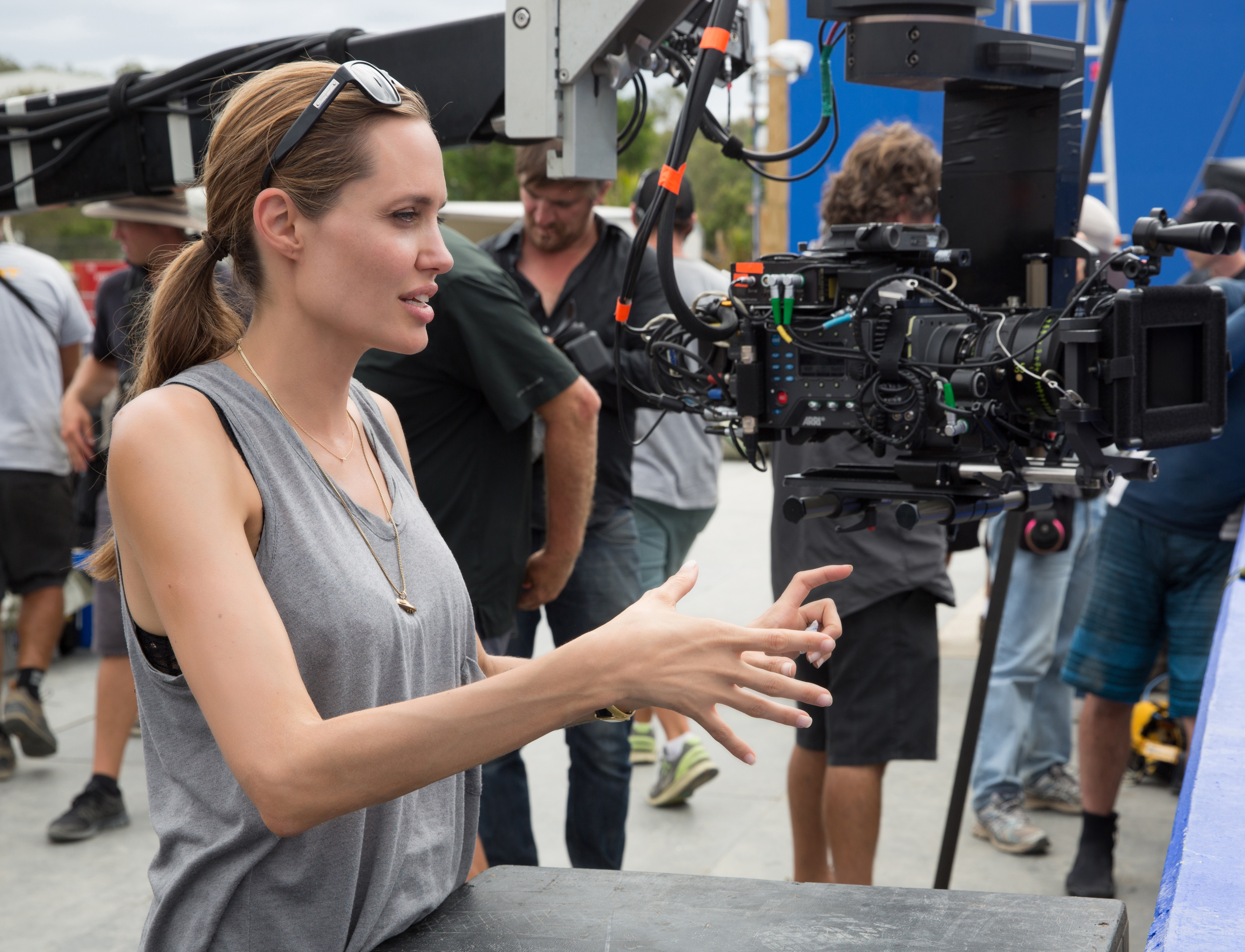 In this image released by Universal Pictures, director Angelina Jolie appears on the set of  Unbroken.