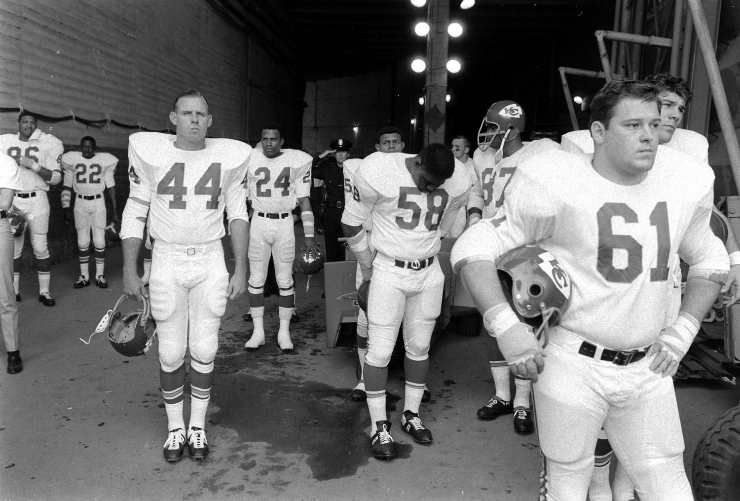 <b>Not published in LIFE.</b> The Kansas City Chiefs wait to take the field against the Packers prior to the start of Super Bowl I, Los Angeles, 1967.