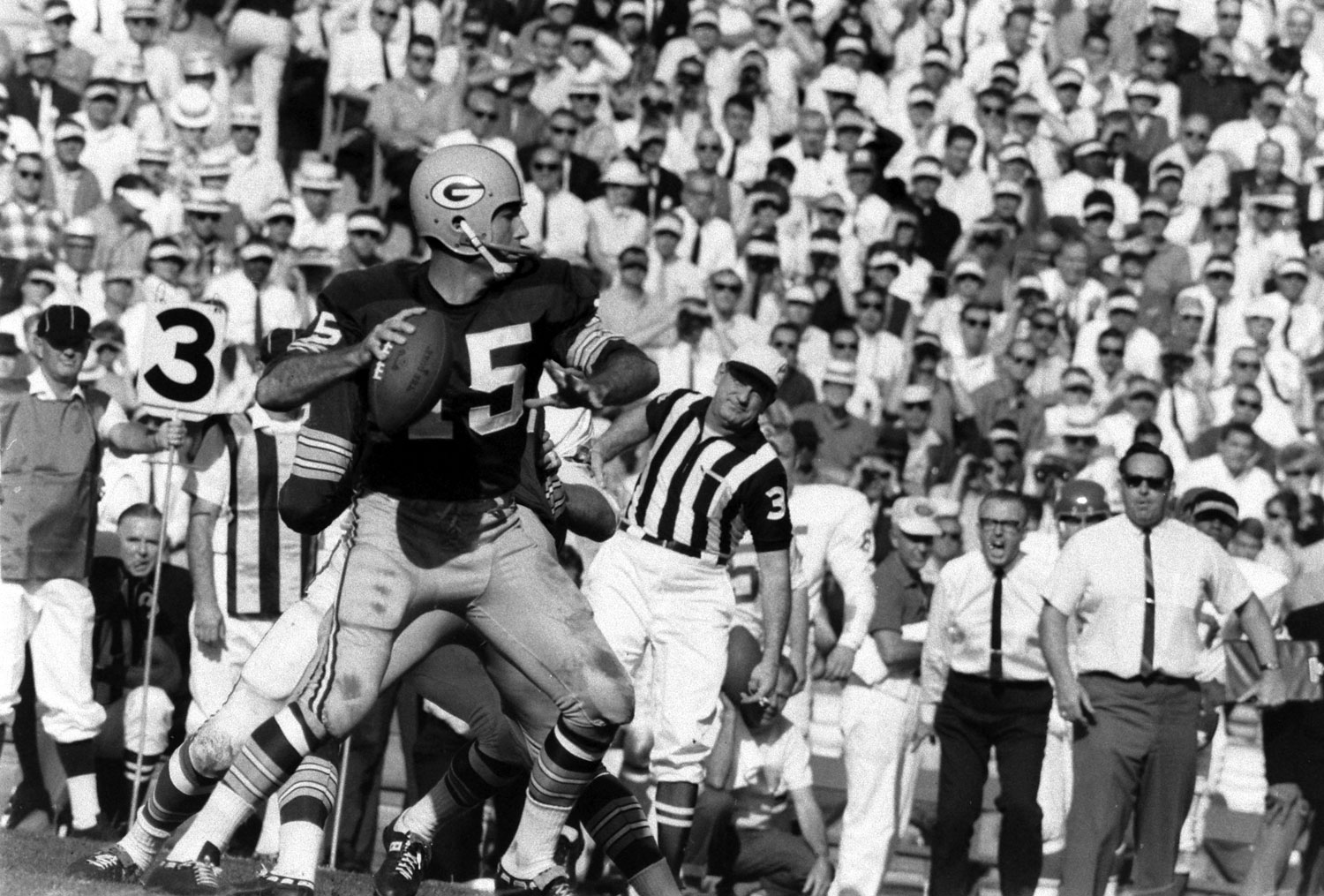 <b>Not published in LIFE.</b> Green Bay QB and game MVP Bart Starr, Super Bowl I, 1967.