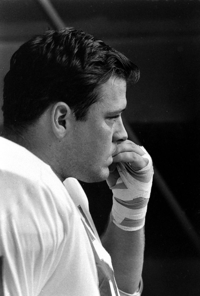 <b>Not published in LIFE.</b> Kansas City defensive lineman Jerry Mays prior to Super Bowl I, 1967.