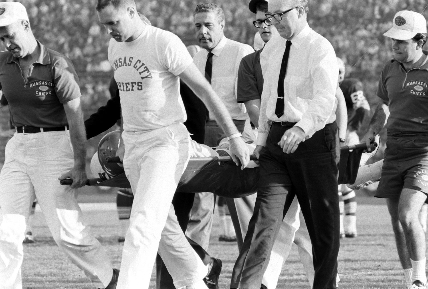 <b>Not published in LIFE.</b> Kansas City's injured Fred Williamson carried off the field, Super Bowl I, 1967.