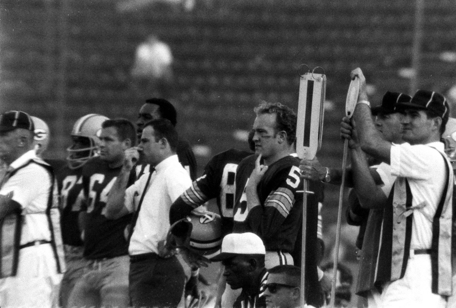 <b>Not published in LIFE.</b> Paul Hornung (#5), a future Hall of Famer who did not play in the game due to injury, Super Bowl I, 1967.