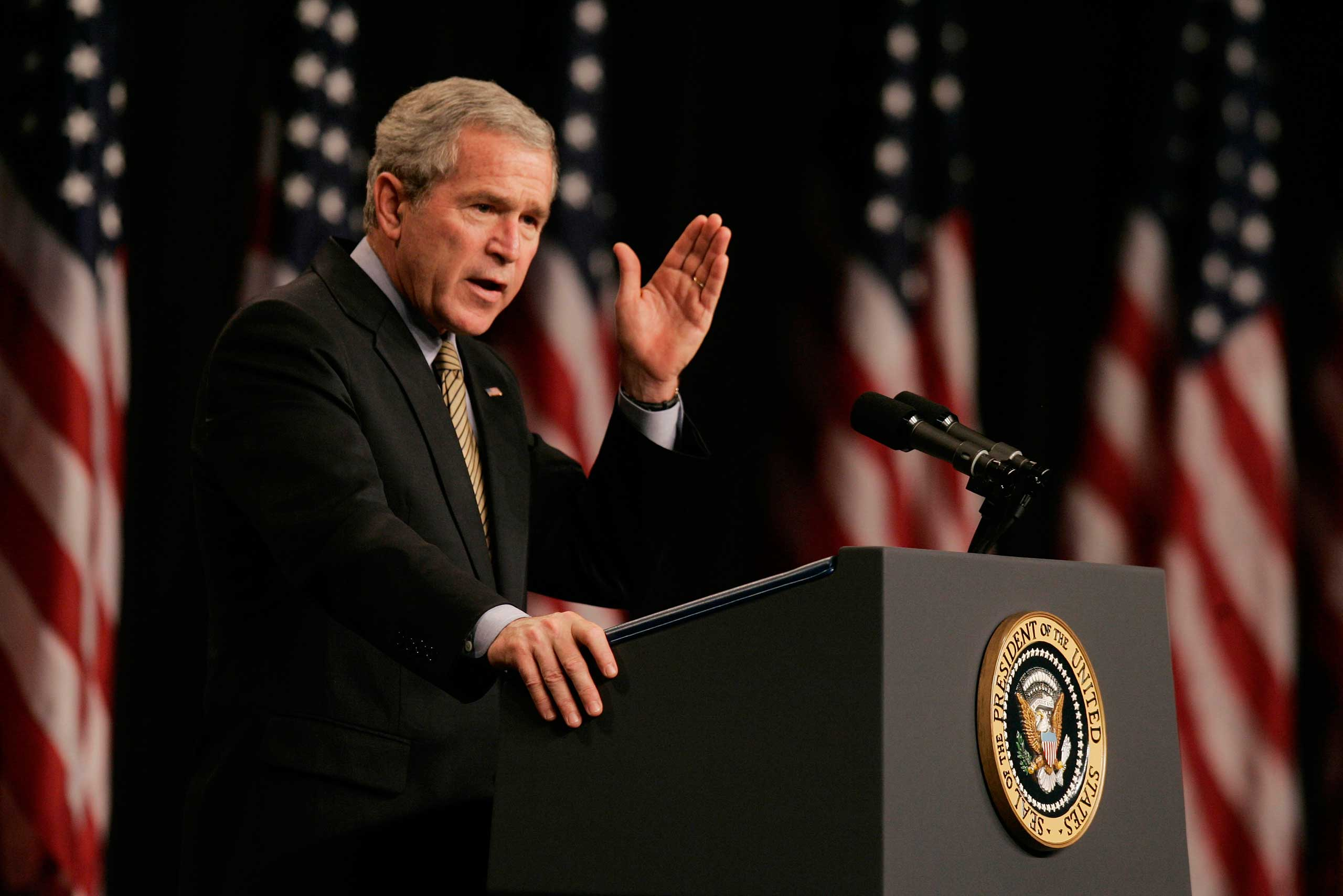 President Bush speaks about the war on terror at a hotel in Washington on Sept. 29, 2006.