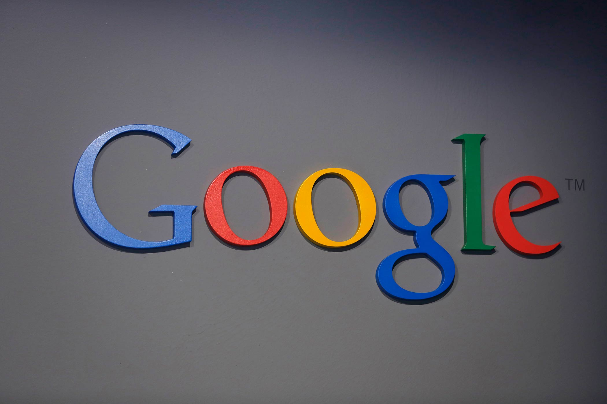 A Google logo is seen at the garage where the company was founded in Menlo Park, Calif., on Sept. 26, 2013.