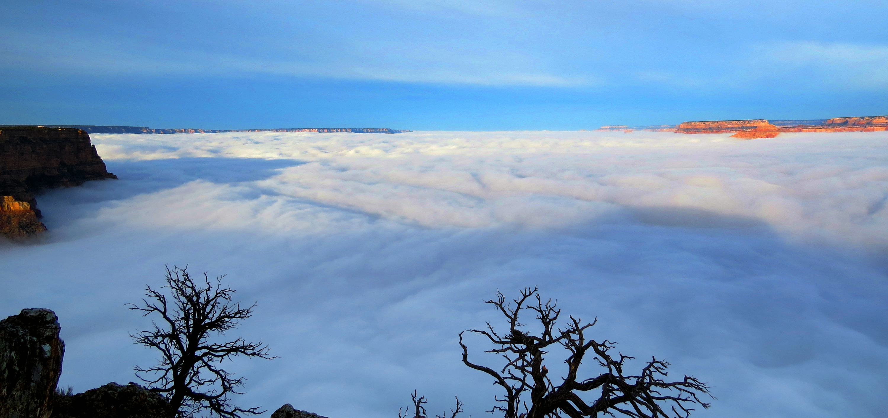 This photo provided by the National Park Service shows dense clouds at the south rim of the Grand Canyon on Dec. 11, 2014 in Arizona.