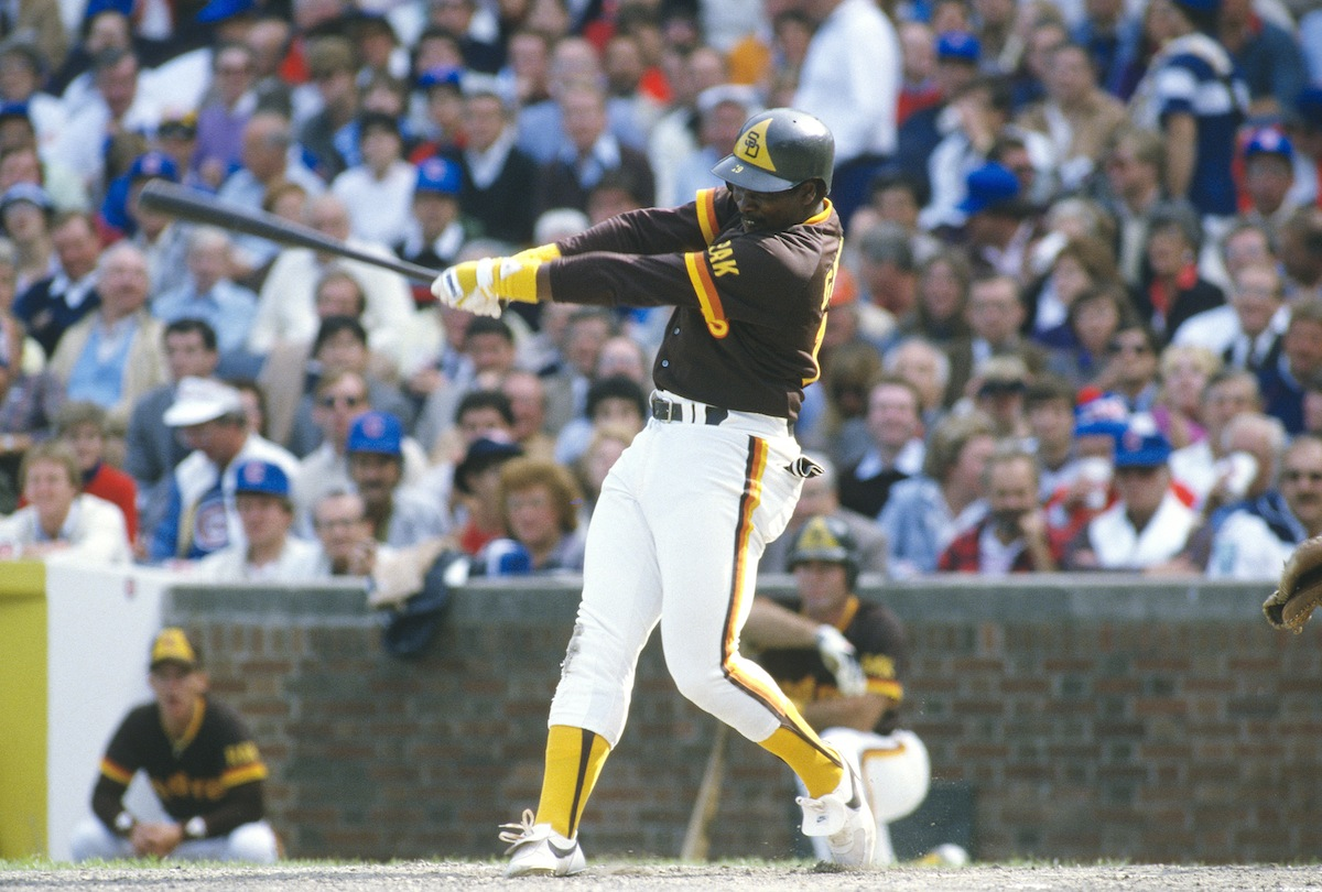 Tony Gwynn of the San Diego Padres bats against the Chicago Cubs, circa 1984