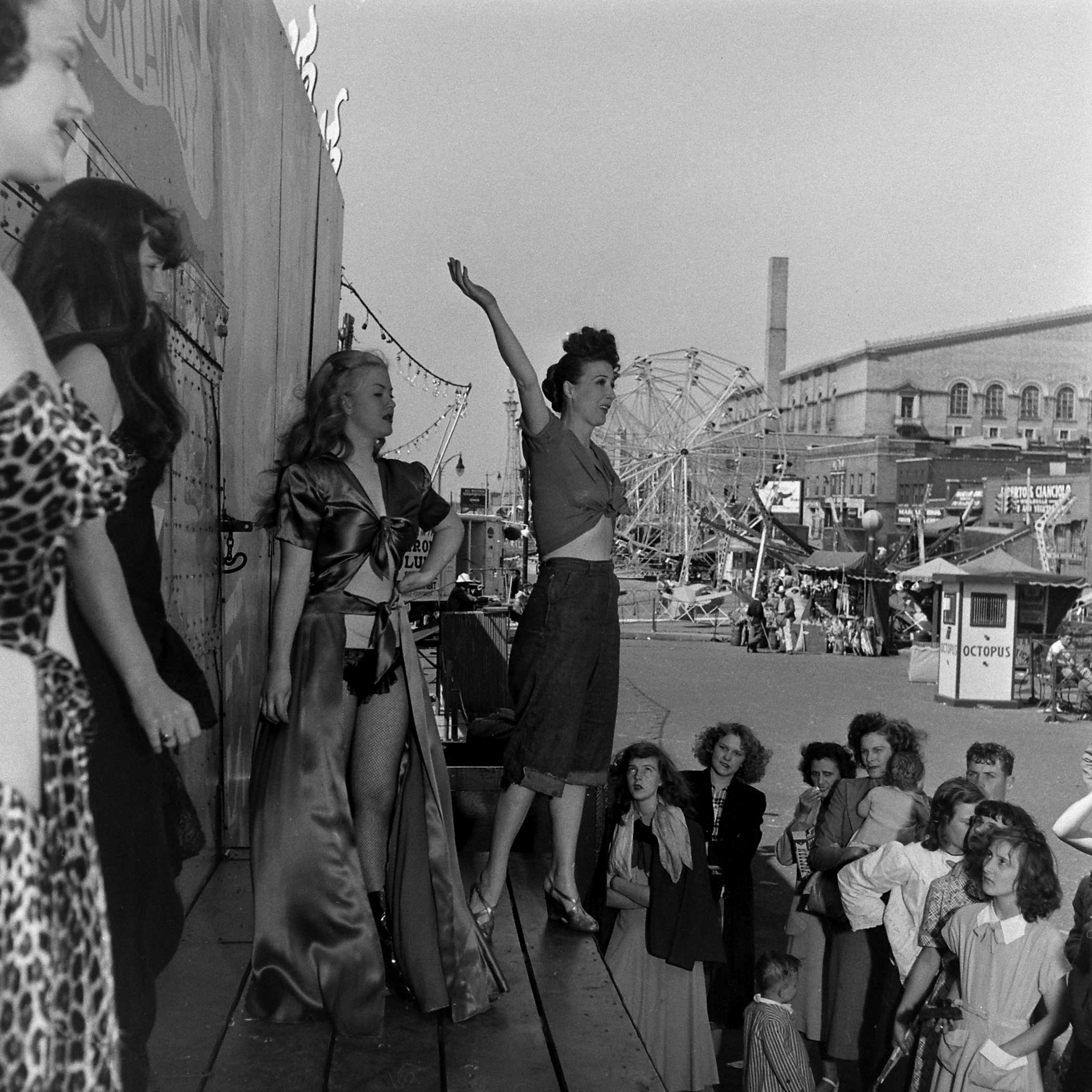<b>Not published in LIFE.</b> Burlesque star Gypsy Rose Lee with fellow performers in Memphis, Tenn., 1949.