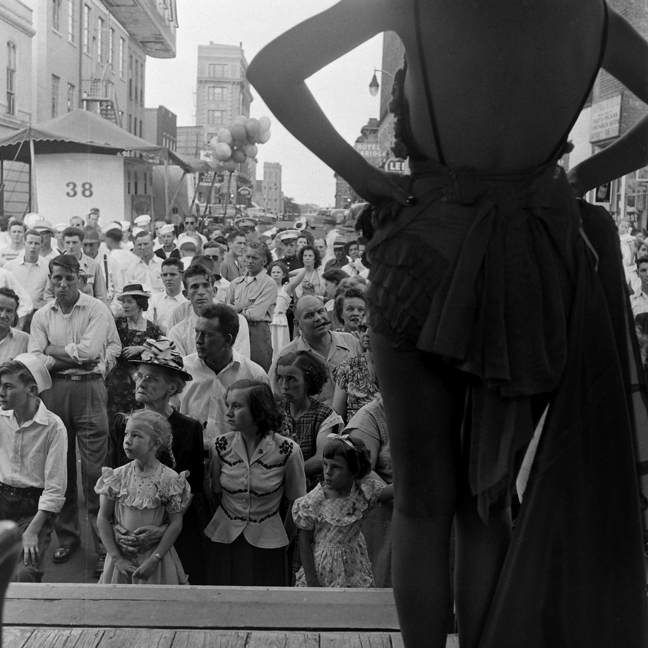 <b>Not published in LIFE.</b> Burlesque star Gypsy Rose Lee in front of a crowd in Memphis, Tenn., 1949.