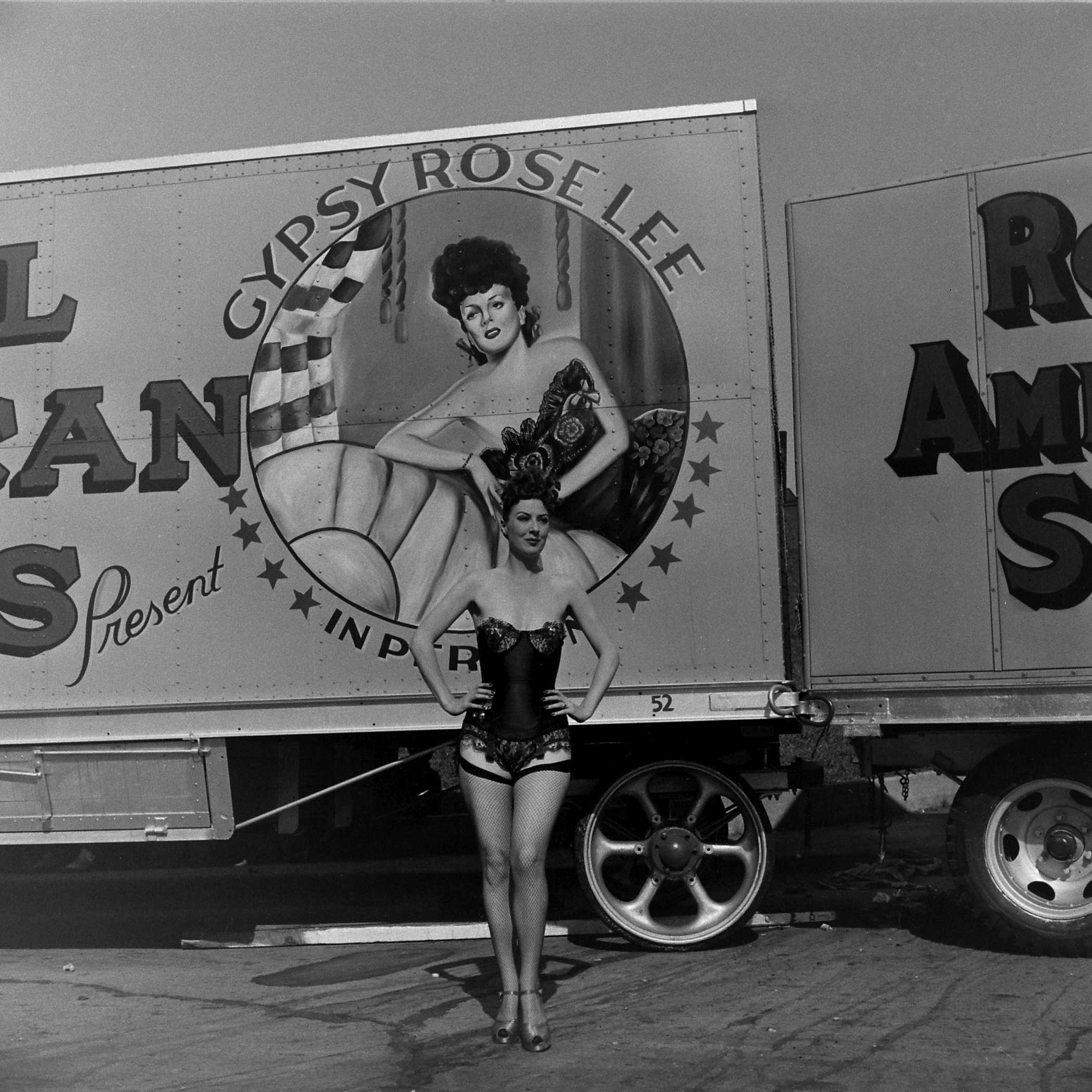 <b>Not published in LIFE.</b> Burlesque star Gypsy Rose Lee in Memphis, Tenn., 1949.