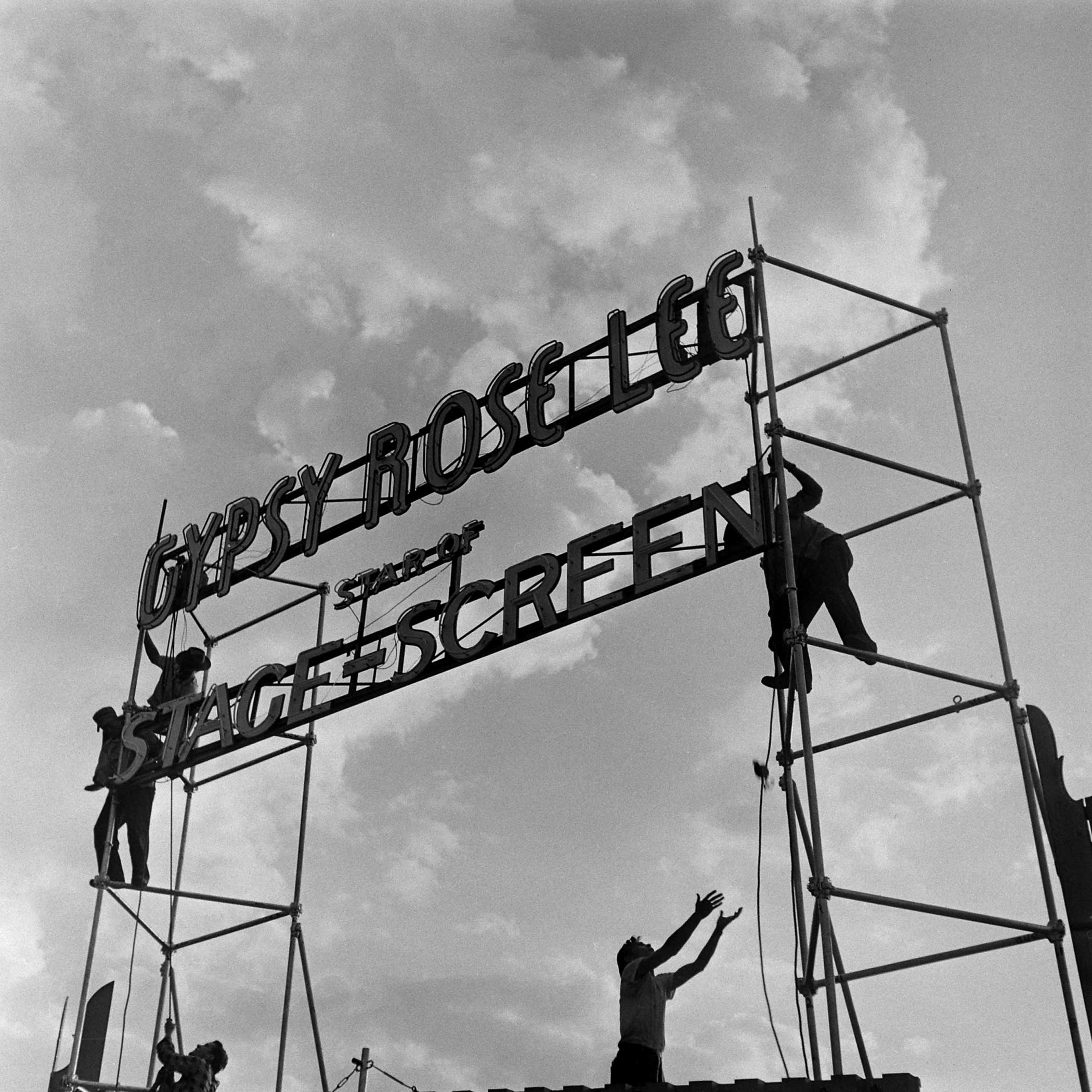 <b>Not published in LIFE.</b> A sign announces the arrival of burlesque star Gypsy Rose Lee in Memphis, Tenn., 1949.