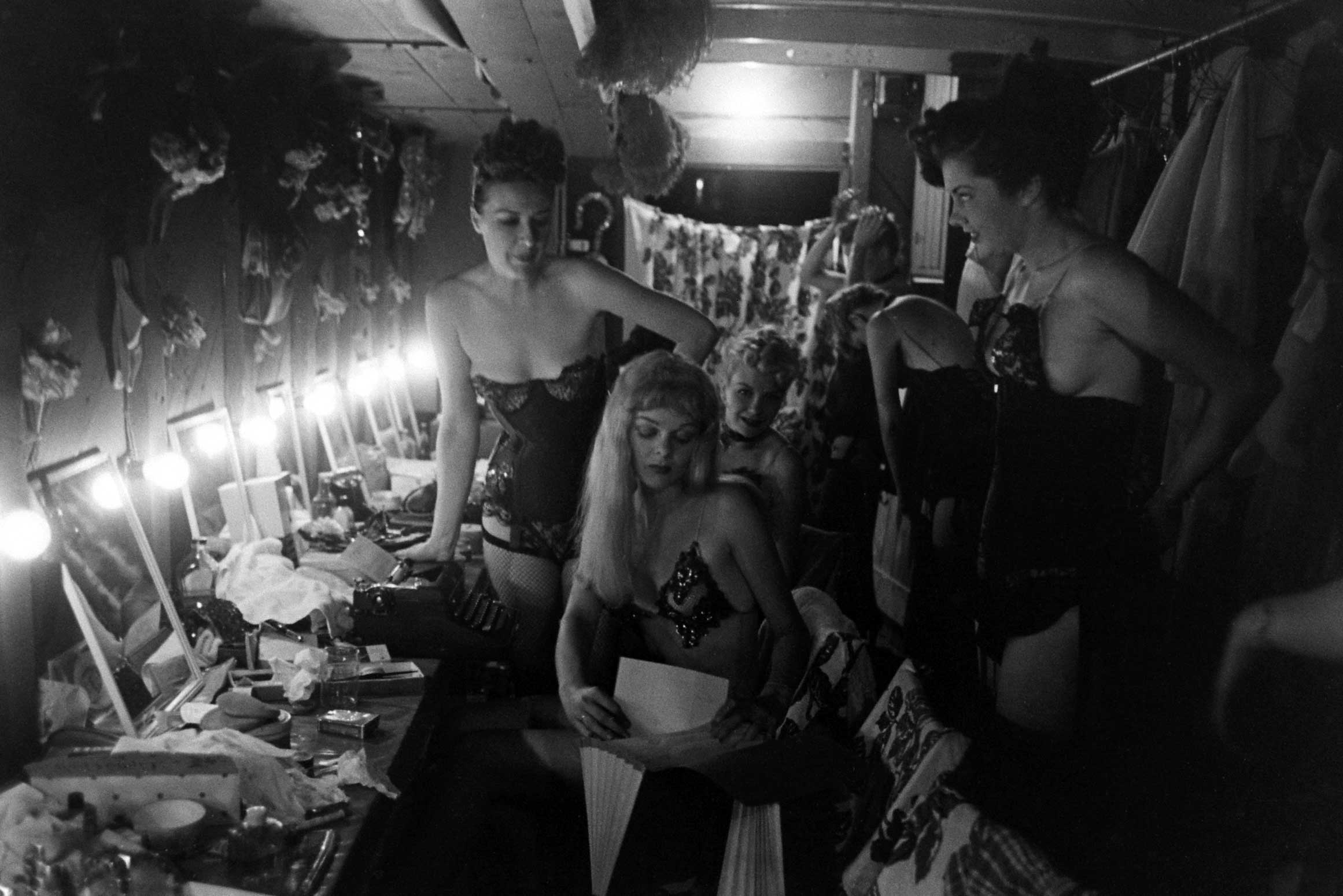 <b>Not published in LIFE.</b> Burlesque star Gypsy Rose Lee (left) and other performers in Memphis, Tenn., 1949.