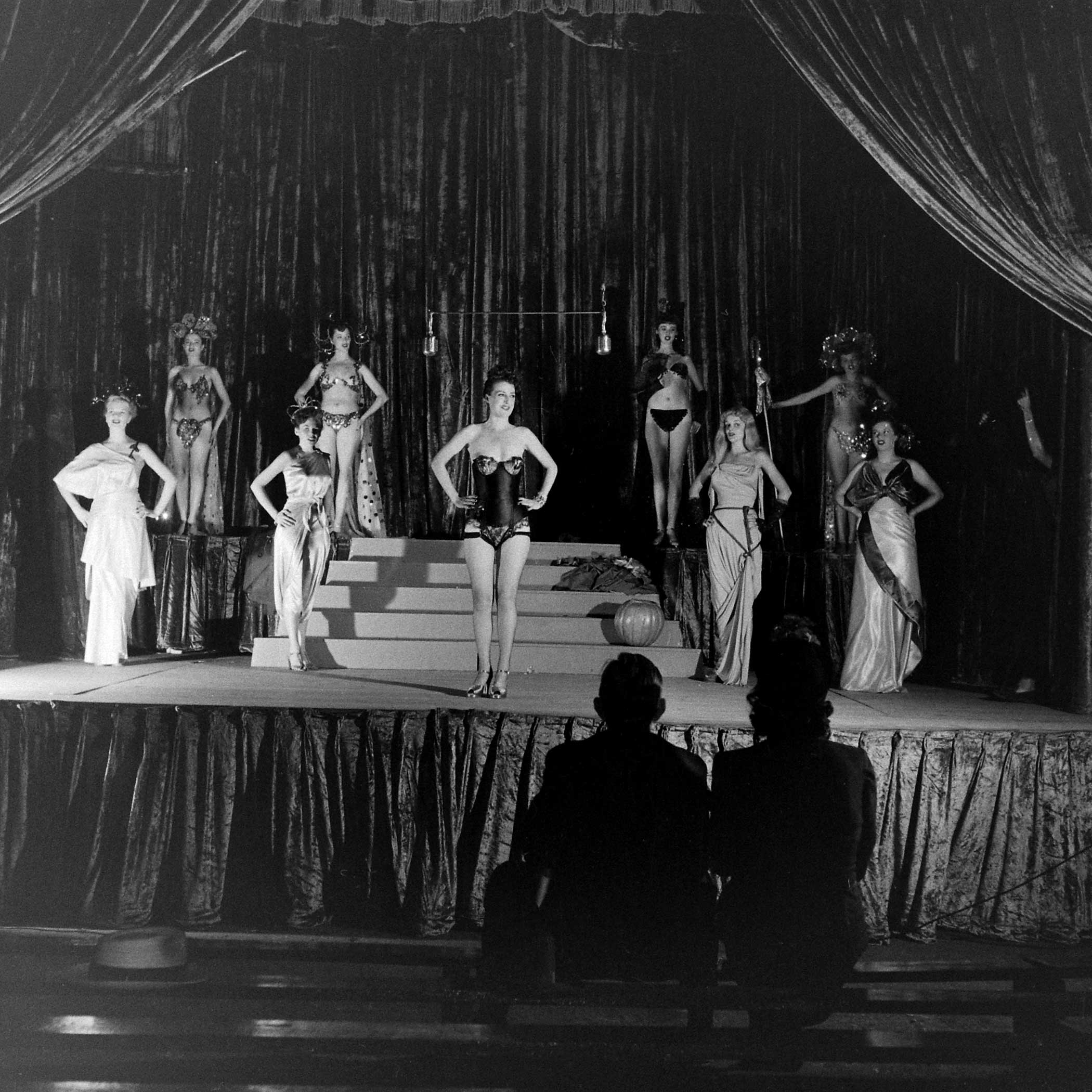 <b>Not published in LIFE.</b> Burlesque star Gypsy Rose Lee (center) and other performers in Memphis, Tenn., 1949.