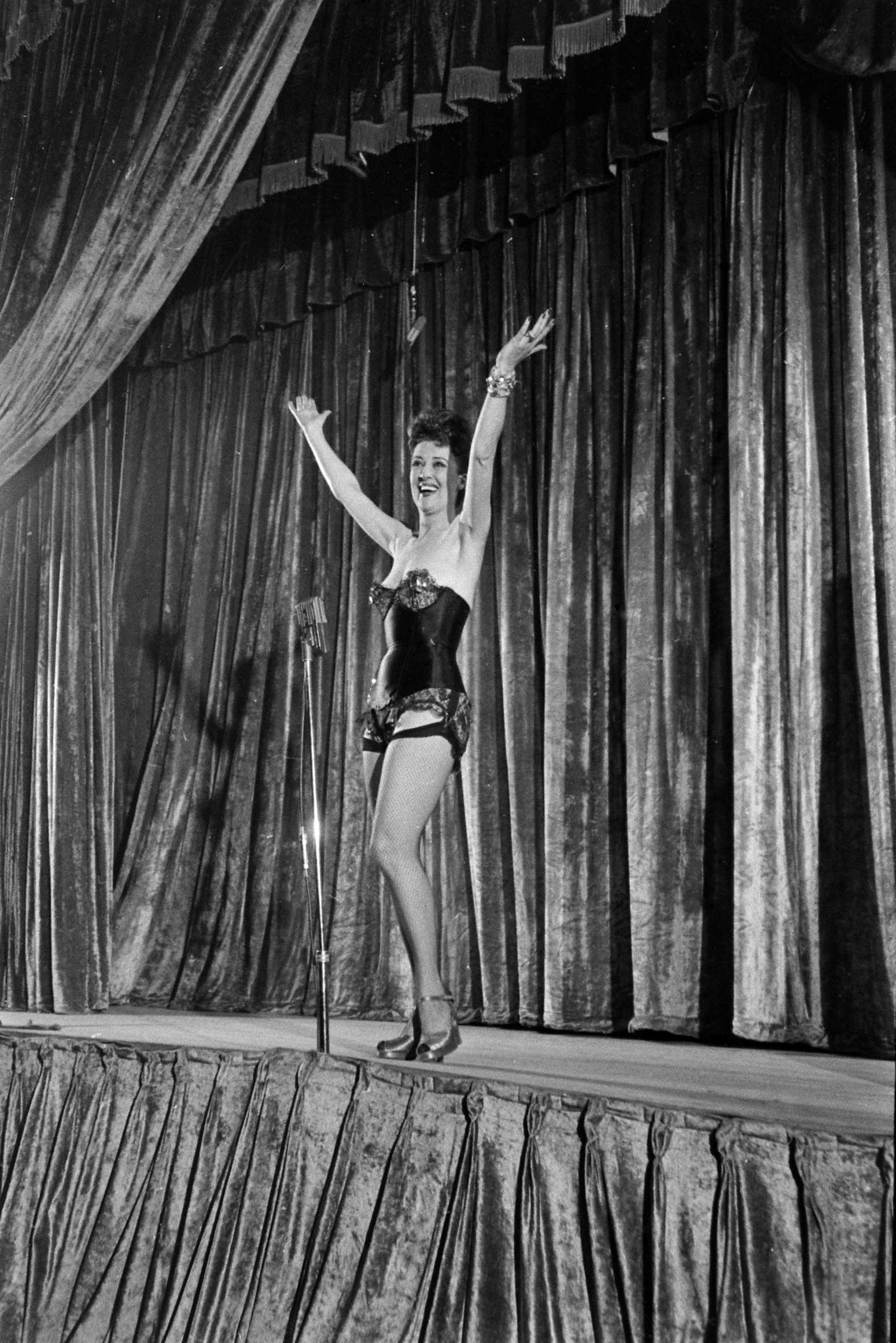 <b>Not published in LIFE.</b> Gypsy Rose Lee burlesque show in Memphis, Tenn., 1949.