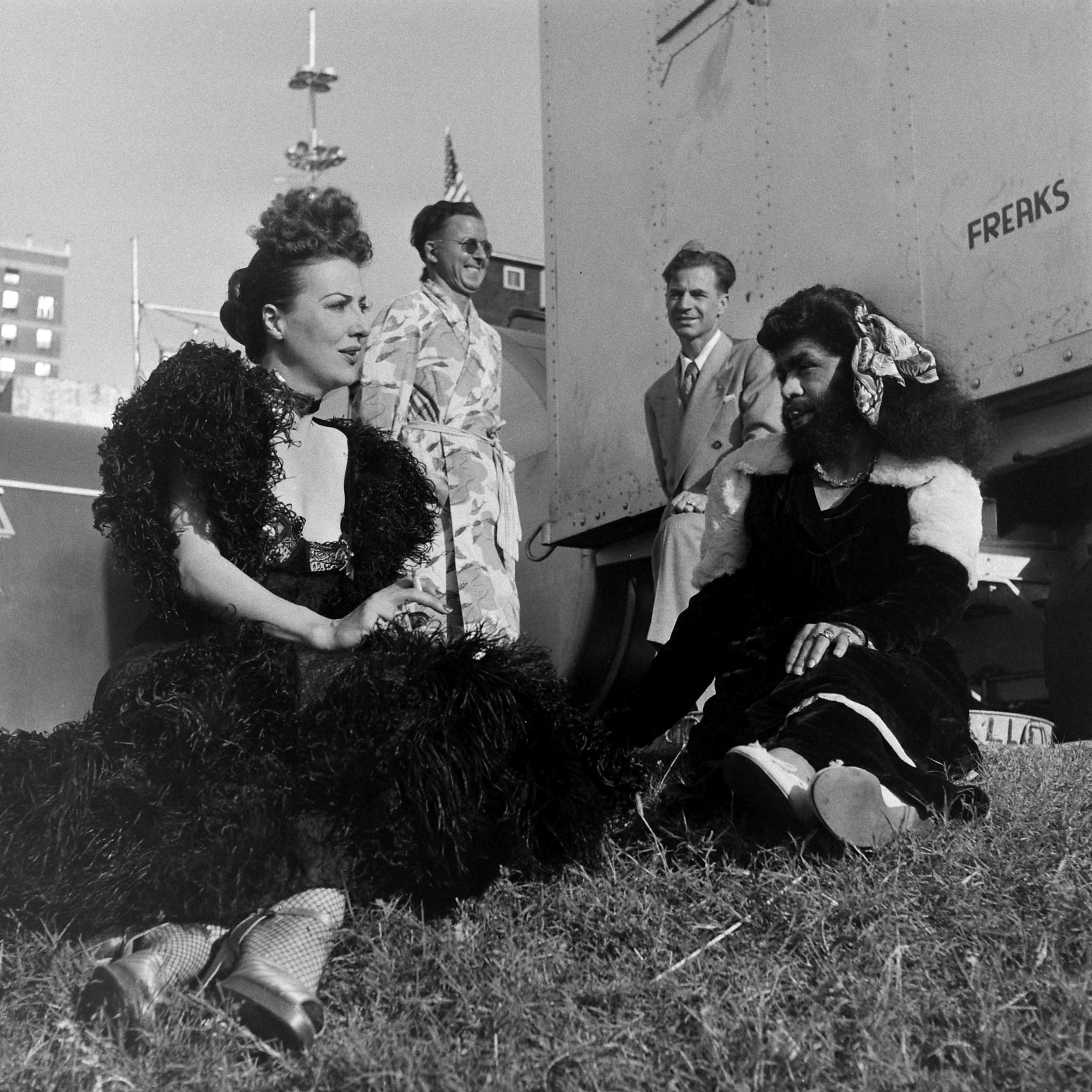 <b>Caption from LIFE.</b> Gypsy Rose Lee with fellow carnival performers in Memphis, Tenn., 1949.