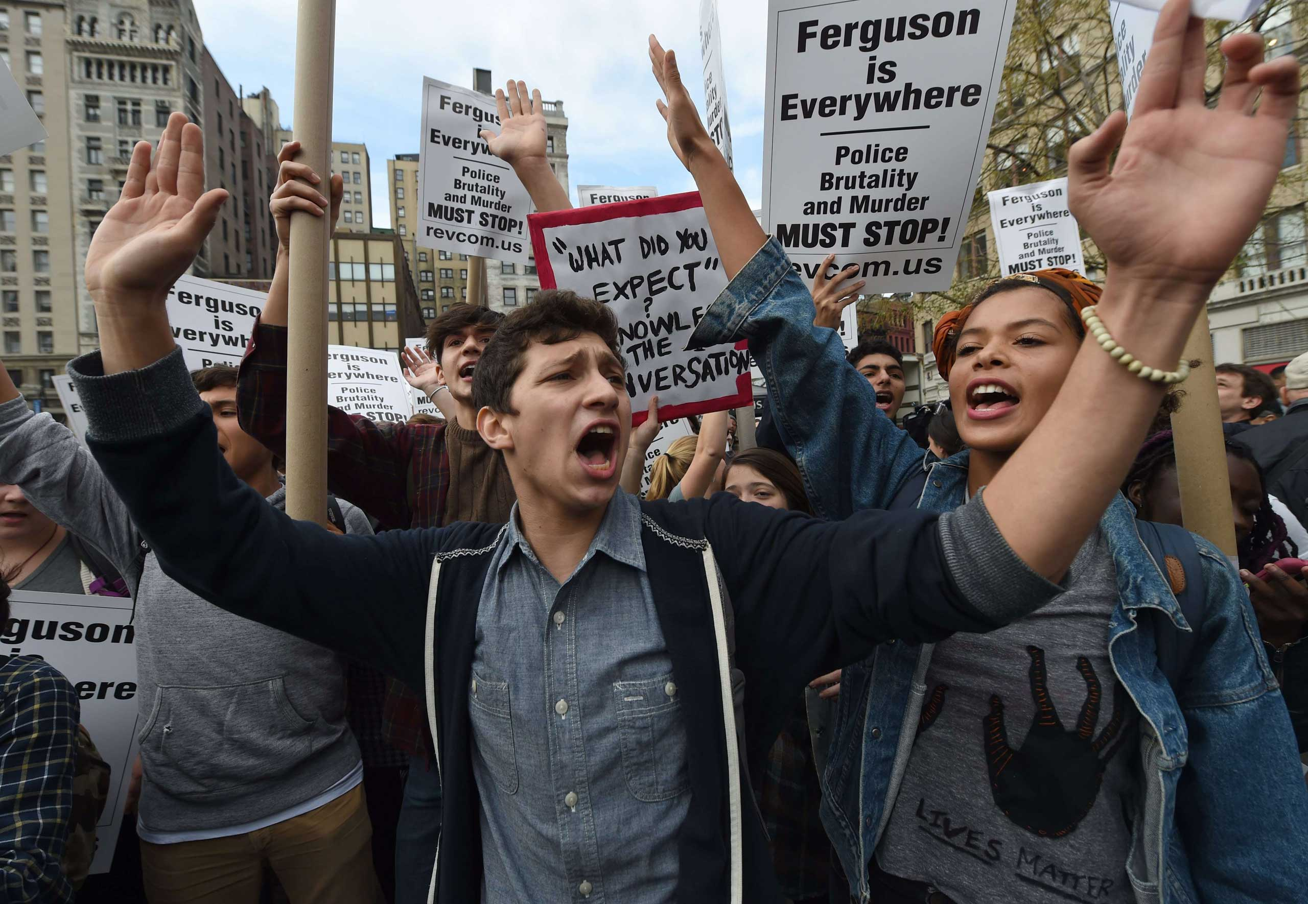 Protesters participate in a nationwide demonstration to show solidarity for Michael Brown and the Ferguson community in Union Square in New York City on Dec. 1, 2014.