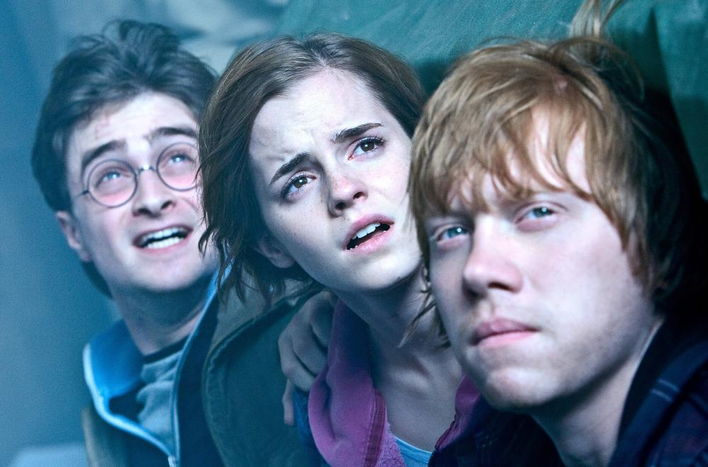 Harry Potter and the Deathly Hallows, Part 2. , Left to right: Daniel Radcliffe, Emma Watson, Rupert Grint