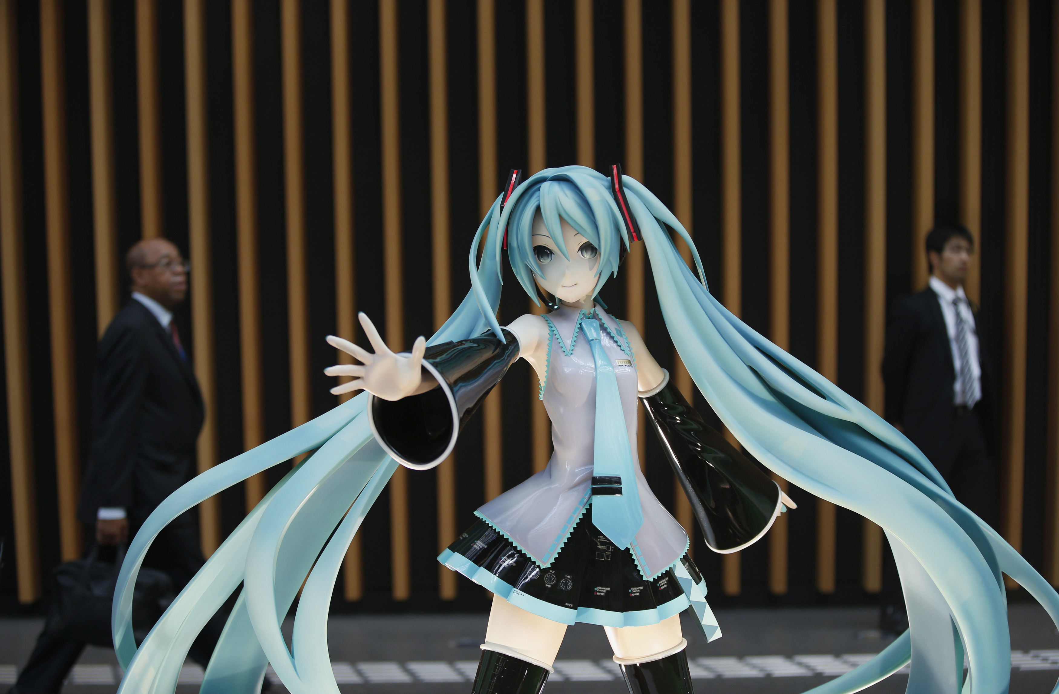 A figure of computer-generated pop star Hatsune Miku at the venue of the Annual Meetings of the International Monetary Fund and the World Bank Group in Tokyo on Oct. 9, 2012.