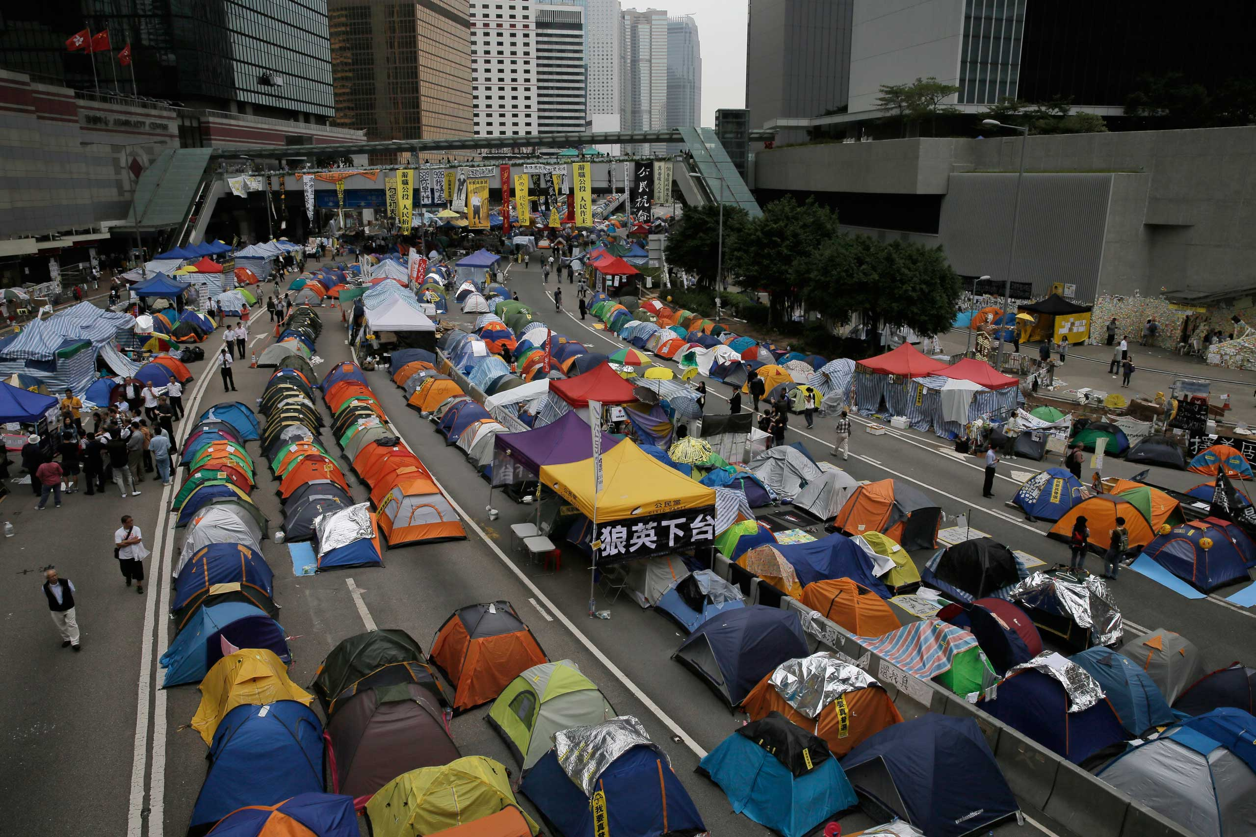 Tents set up by pro-democracy protesters are seen in an occupied area outside the government headquarters in Hong Kong's Admiralty district, Nov. 12, 2014.