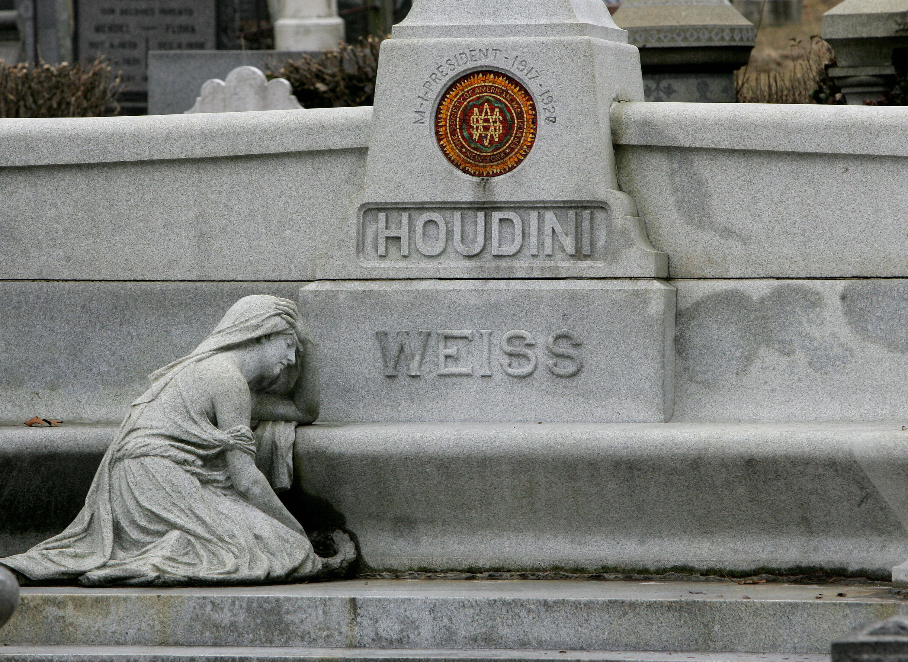 Magician Harry Houdini's gravesite is pictured on March 23, 2007 in the Queens borough of New York.