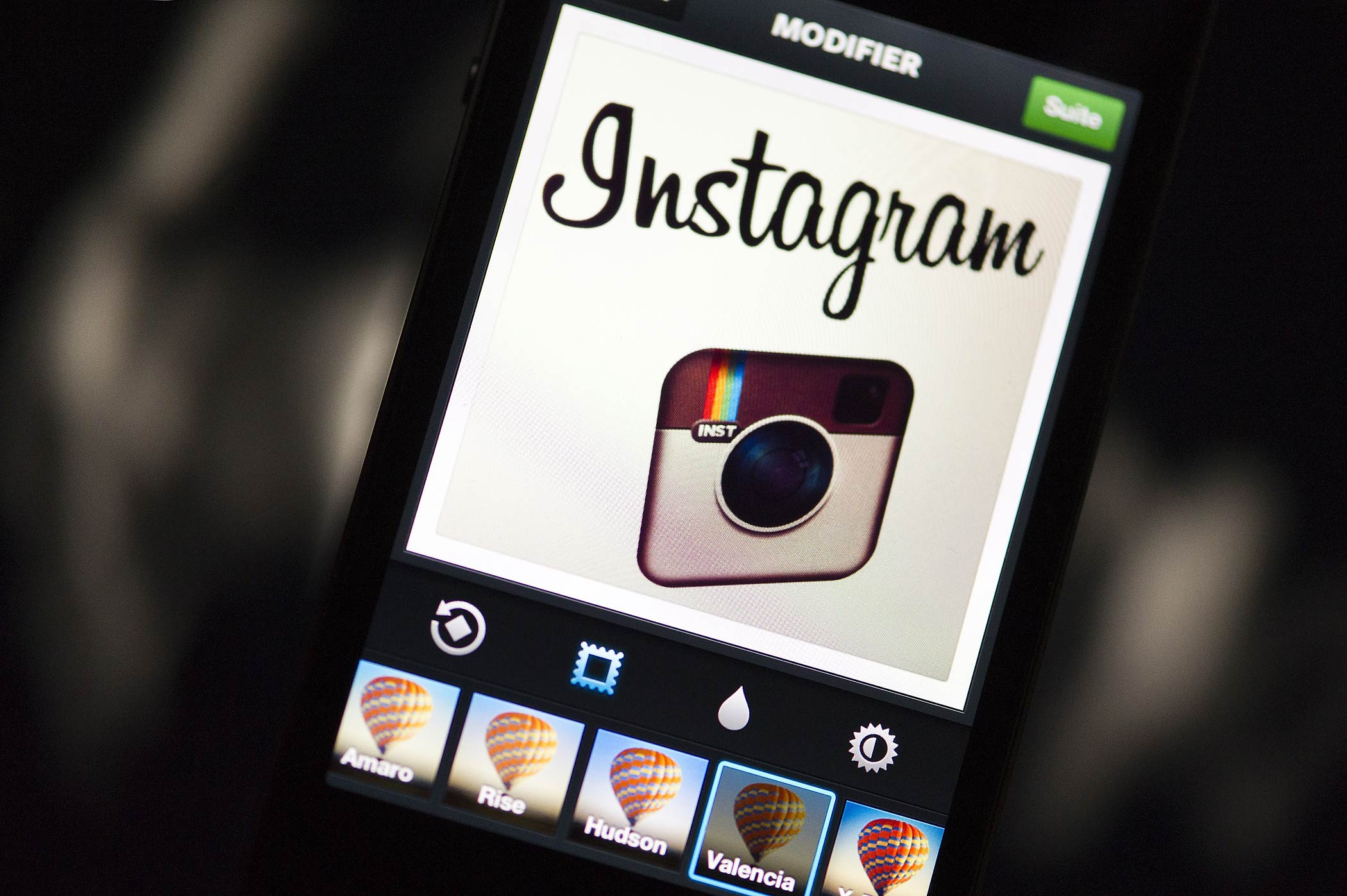 The Instagram logo is displayed on a smartphone on Dec. 20, 2012 in Paris, France.