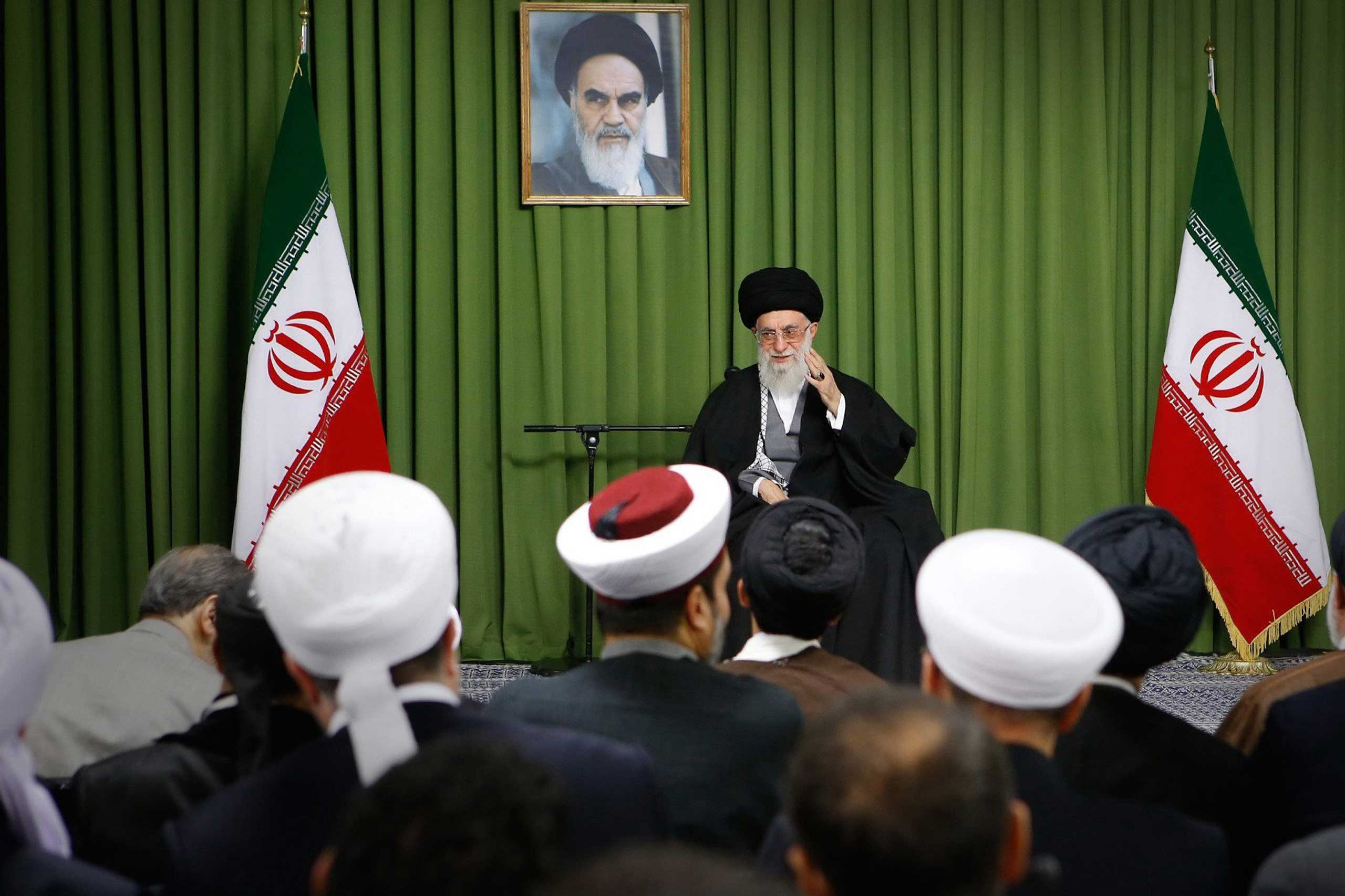 Supreme leader Ayatollah Ali Khamenei speaks during a ceremony in Tehran, Nov. 25, 2014.
