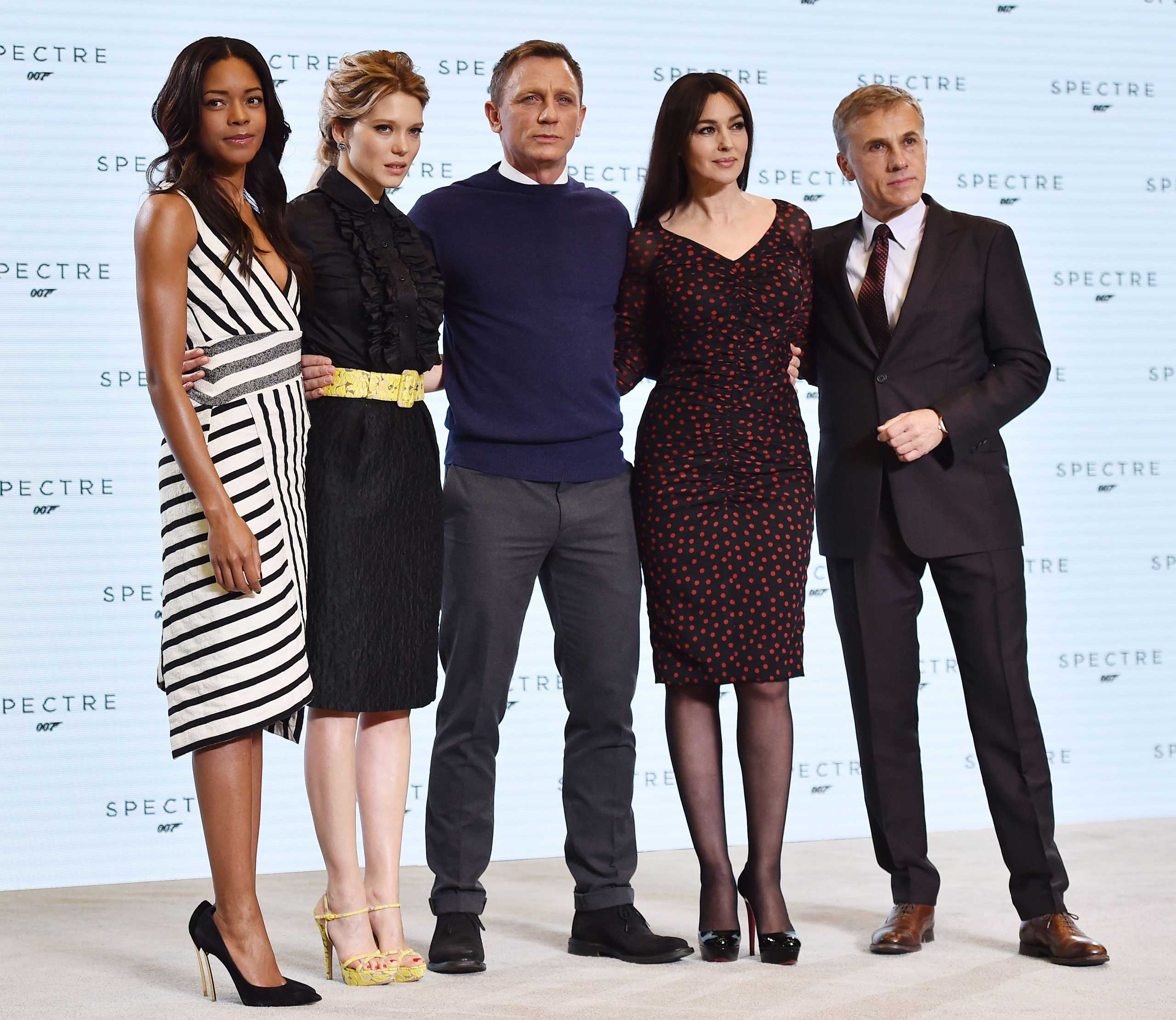 The cast of the 24th James Bond film 'Spectre' pose at Pinewood Studios in Buckinghamshire, west of London, on Dec. 4, 2014.