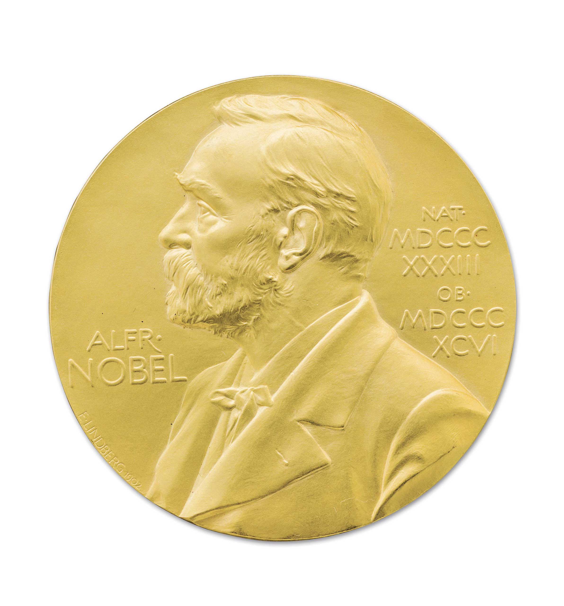 The front side of the Nobel Prize medal awarded to US scientist James Watson in 1962.