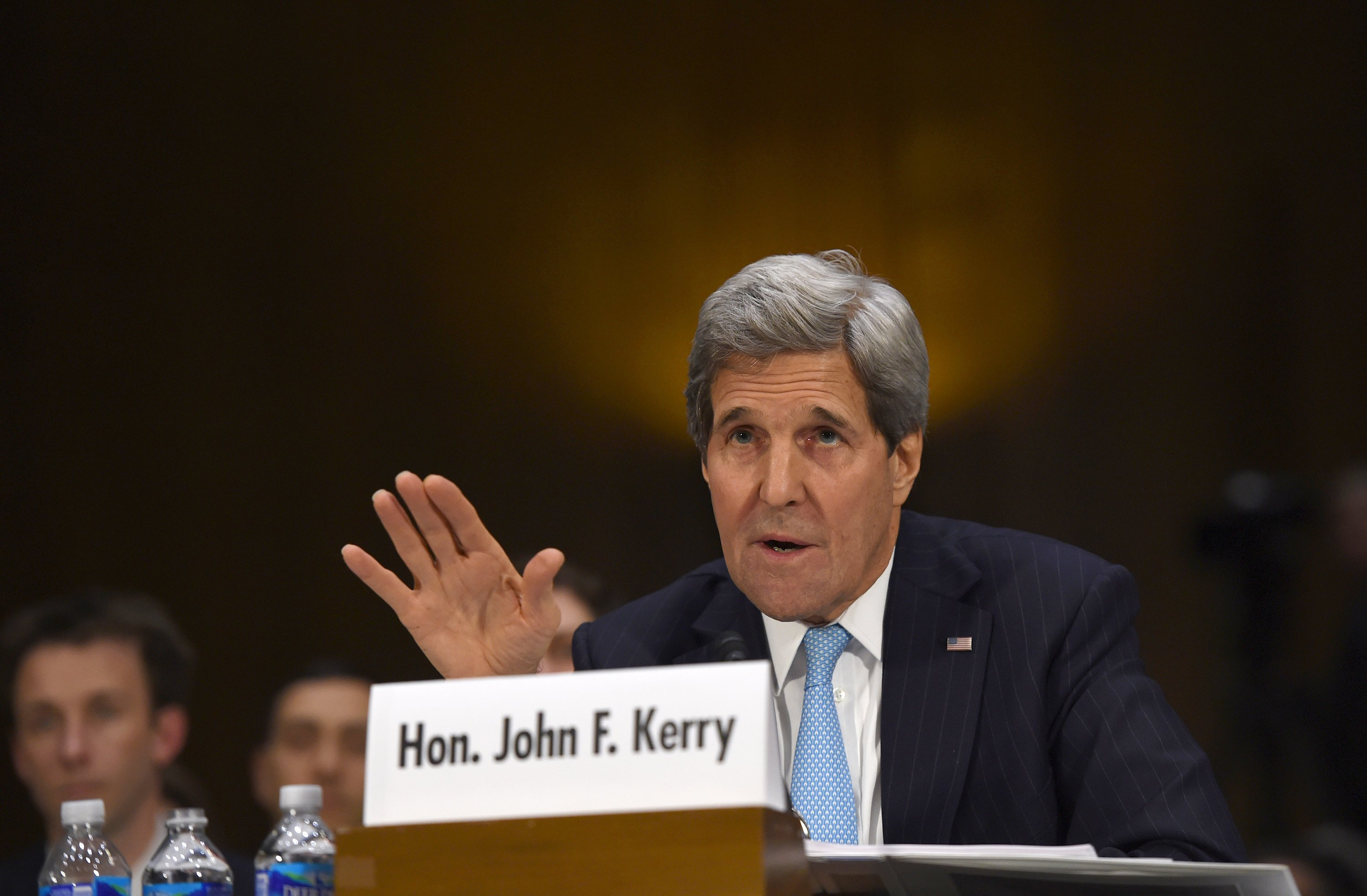 Secretary of State John Kerry testifies on Capitol Hill in Washington on Dec. 9, 2014, before the Senate Foreign Relations hearing on  Authorization for the Use of Military Force Against IS.