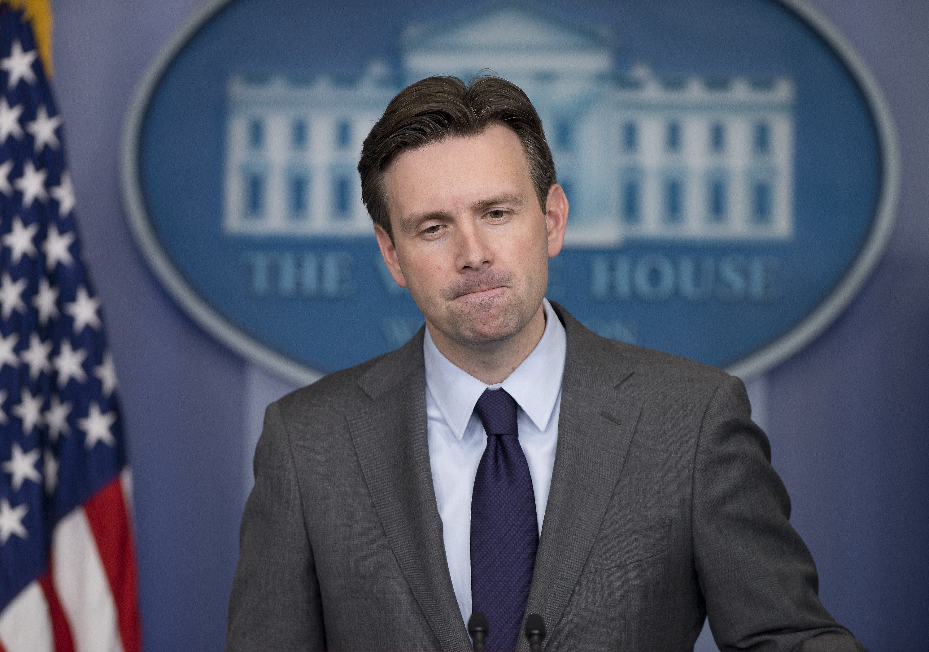 White House Press Secretary Josh Earnest holds the daily briefing in the Brady Press Briefing Room of the White House in Washington, D.C. on Nov. 19, 2014.