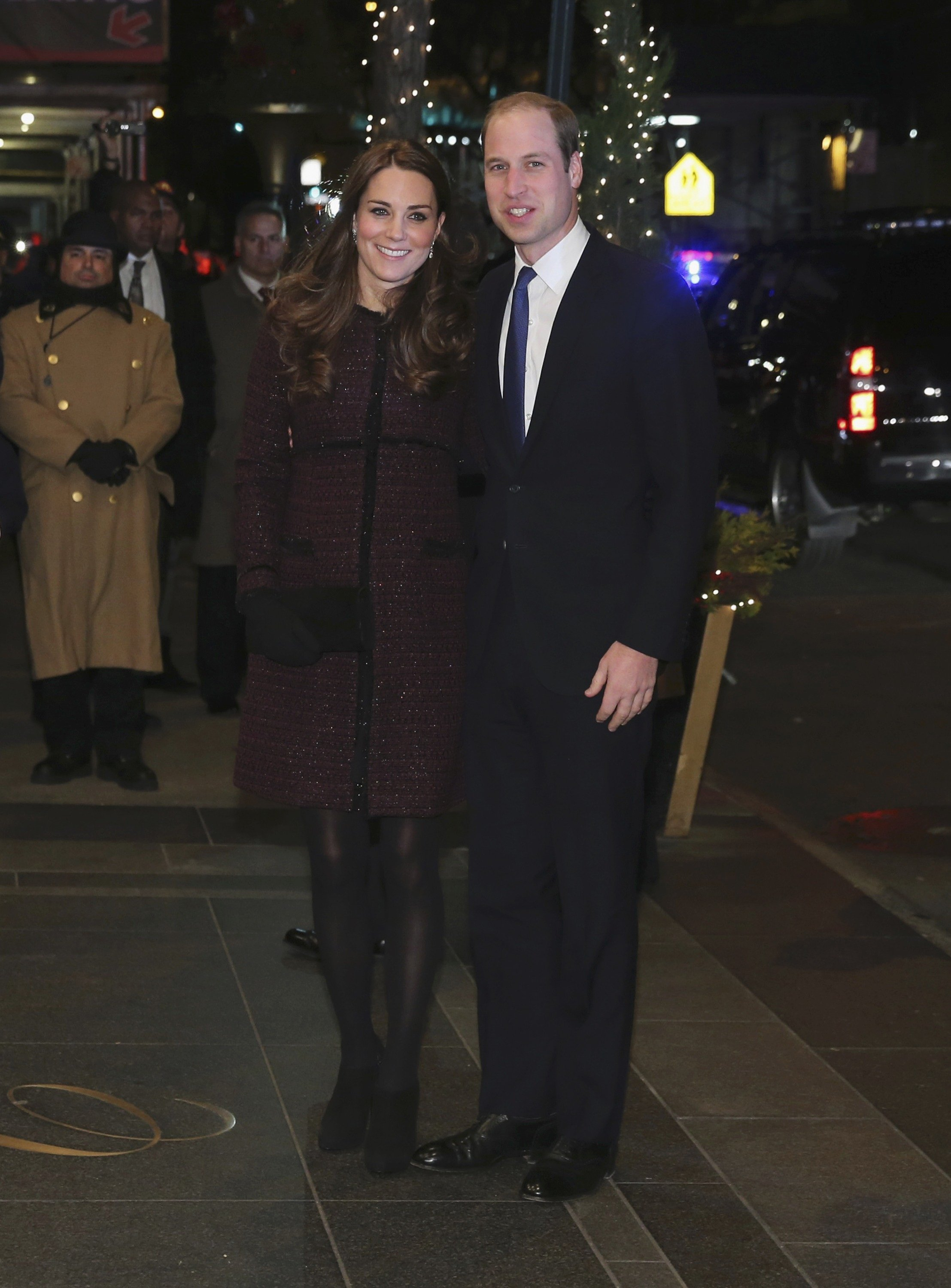 Catherine, Duchess of Cambridge and Britain's Prince William, Duke of Cambridge arrive at the Carlyle hotel in New York on Dec. 7, 2014.