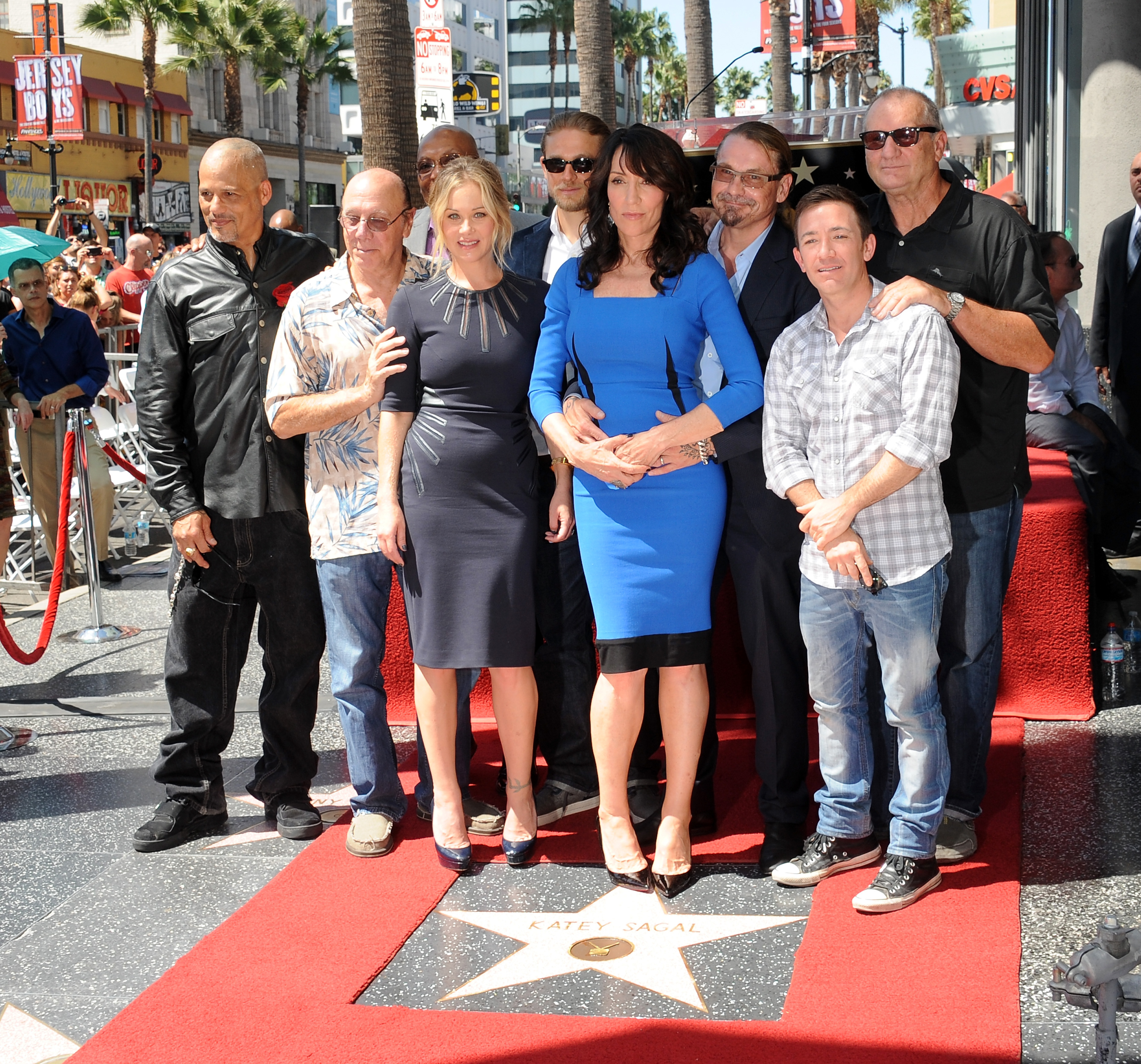 Actors David Labrava, Dayton Callie, Christina Applegate, Charlie Hunnam, Katey Sagal, Kurt Sutter, David Faustino and Ed O'Neill at Katey Sagal's Star Ceremony  on the Hollywood Walk Of Fame on Sept. 9, 2014 in Hollywood.