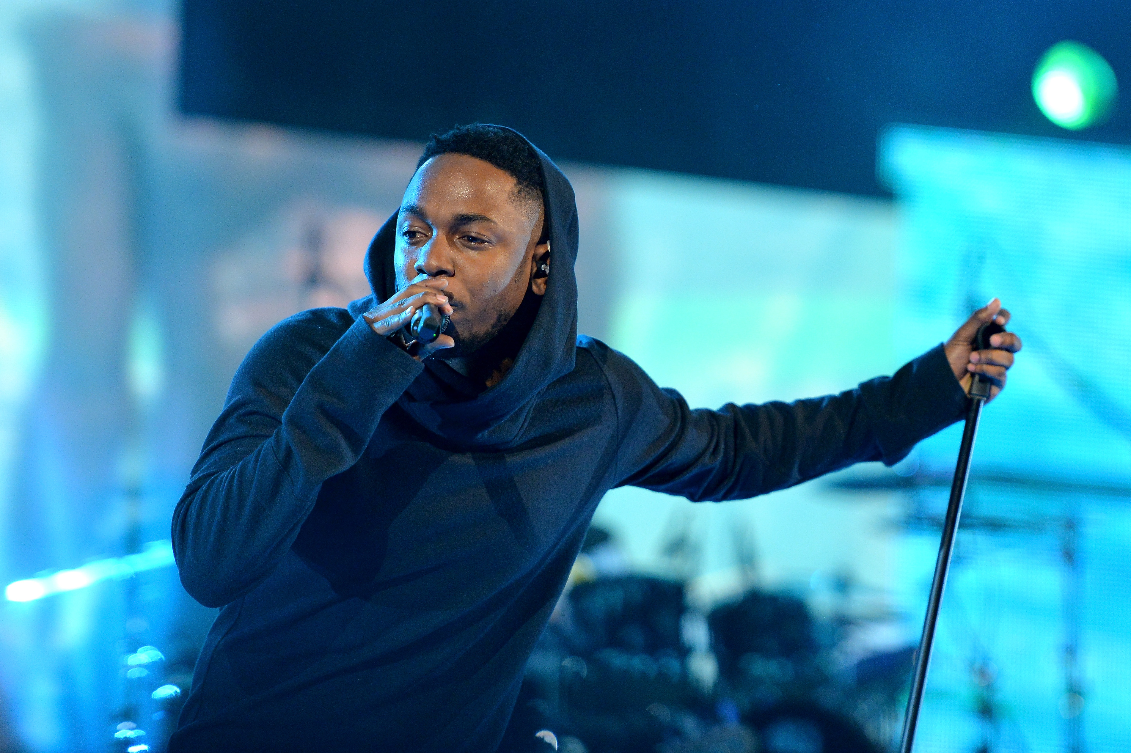 Musician Kendrick Lamar performs onstage at the State Farm All-Star Saturday Night during the NBA All-Star Weekend 2014 at The Smoothie King Center on February 15, 2014 in New Orleans.