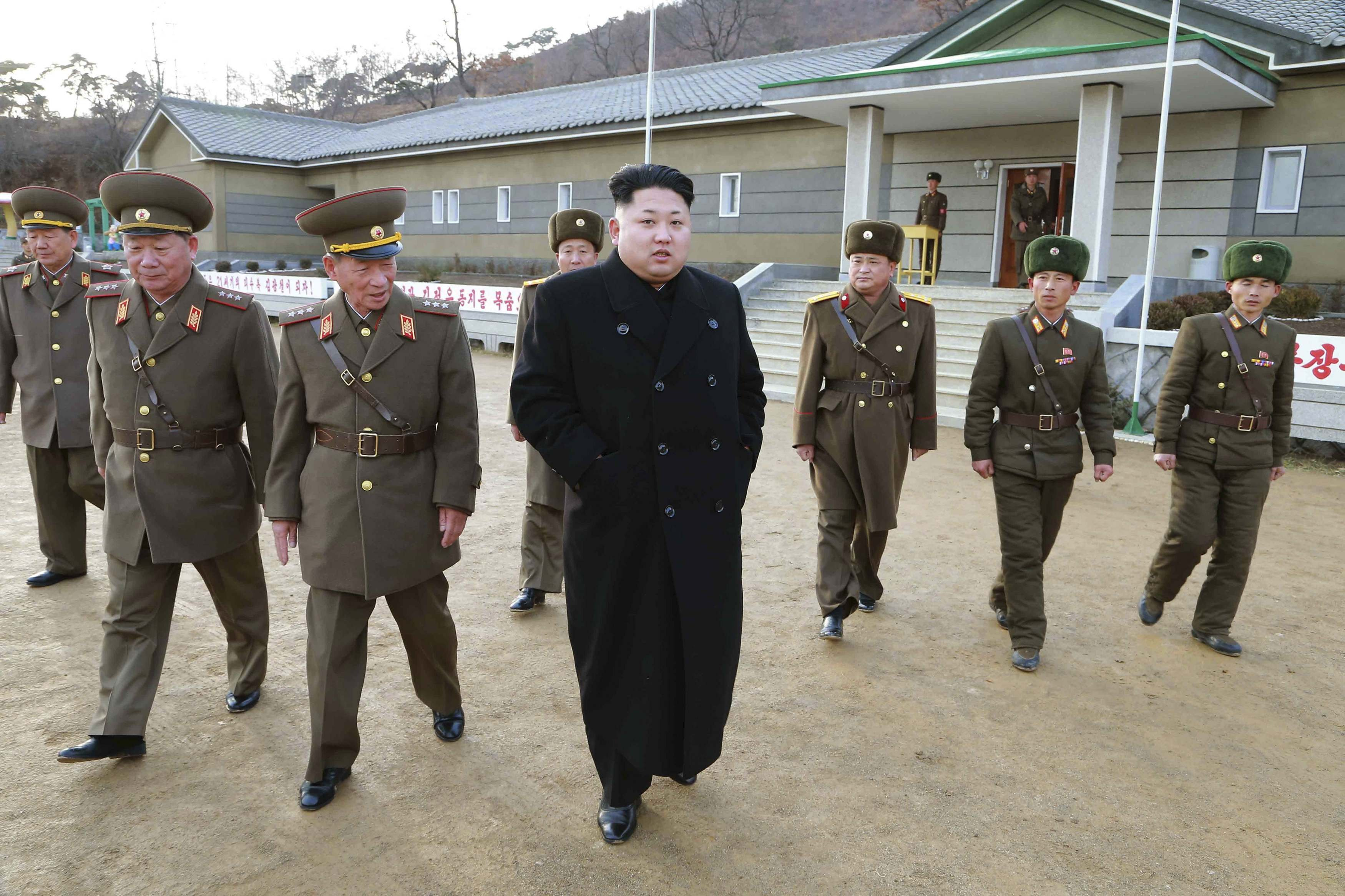 North Korean leader Kim Jong Un inspects the Artillery Company under the Korean People's Army Unit 963 in Pyongyang on Dec. 2, 2014