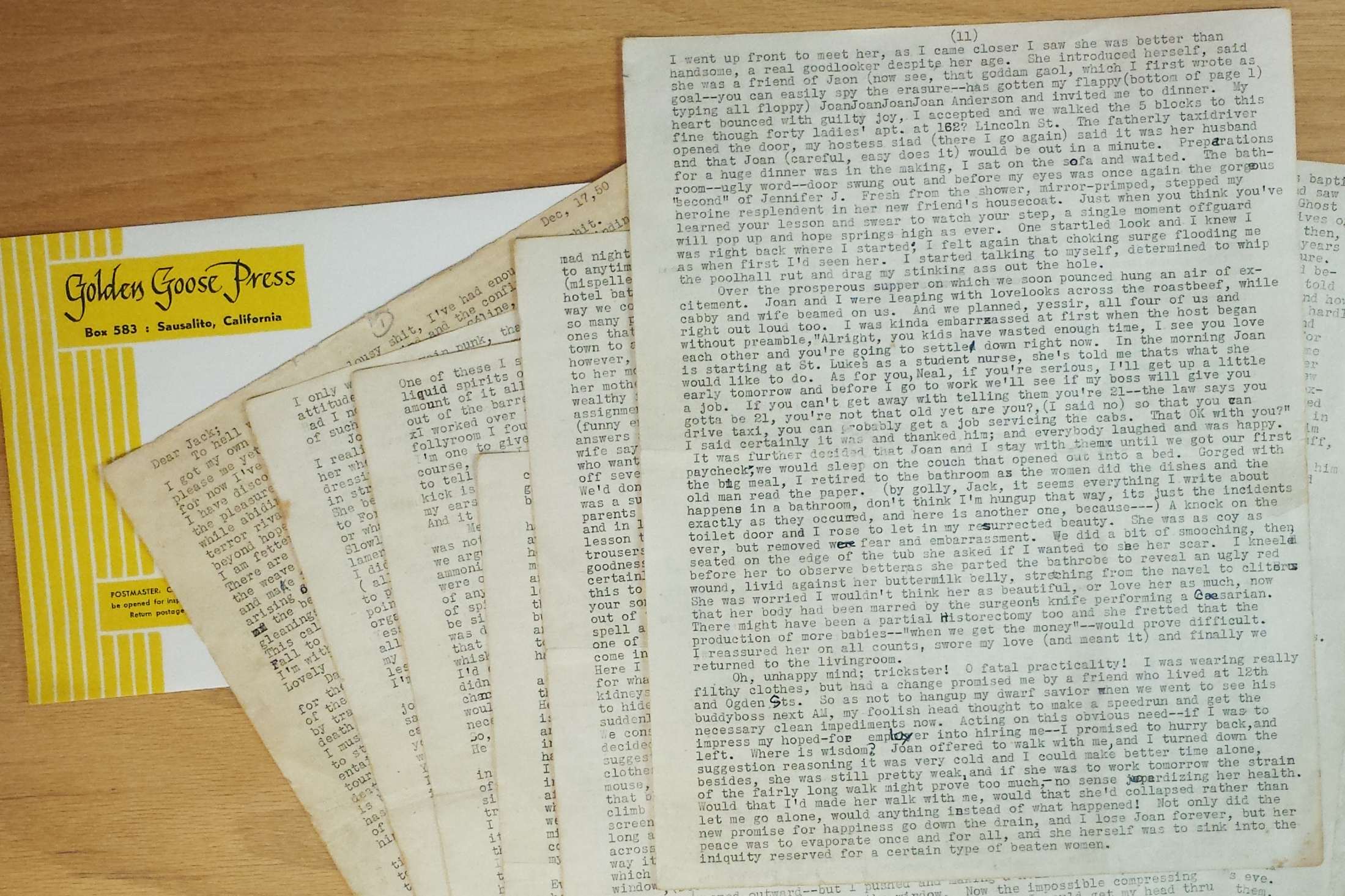 The  Joan Anderson letter,  written from Neal Cassady to Jack Kerouac, is displayed in its entirety for the first time since being discovered, at the Beat Museum in San Francisco on Dec. 1, 2014.